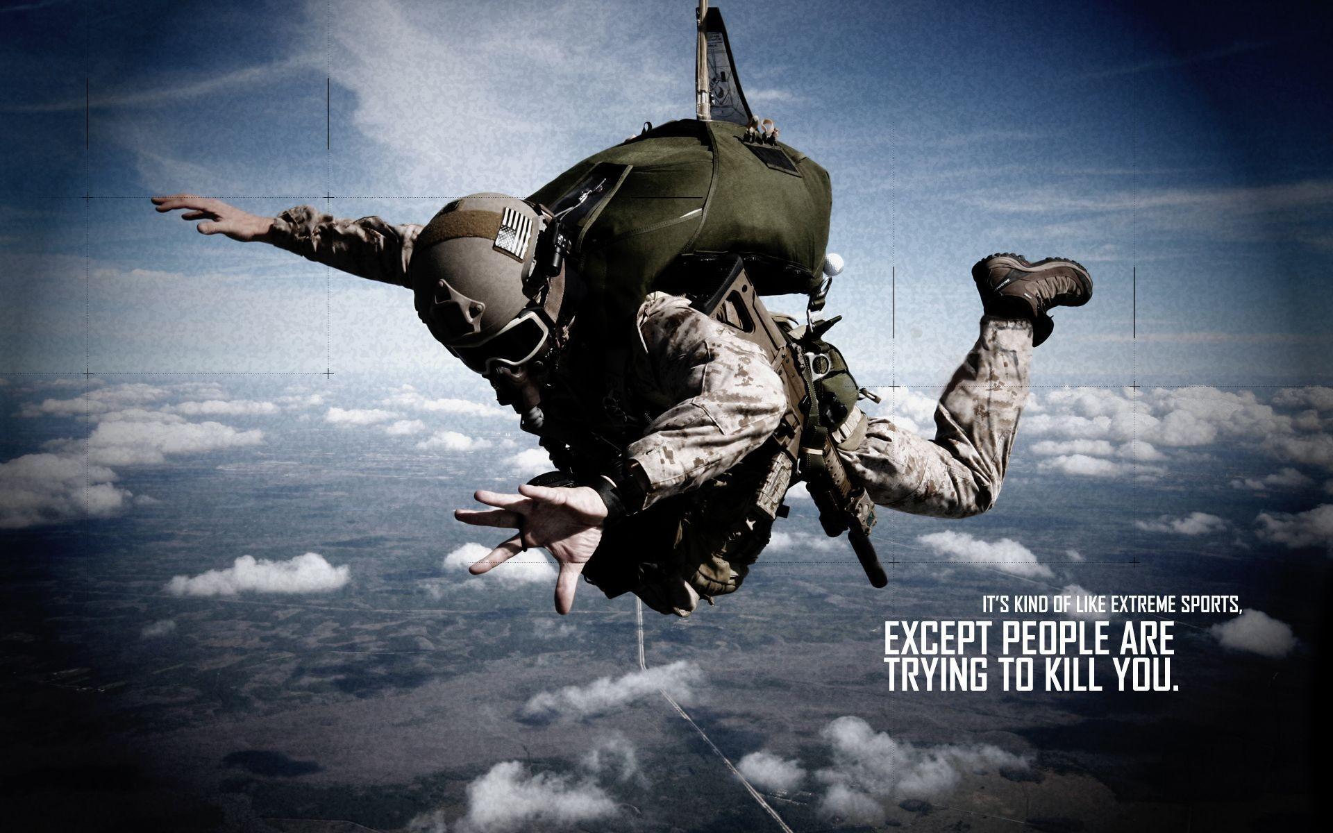 Soldier Skydive Fall Paratrooper warriors mask military text .
