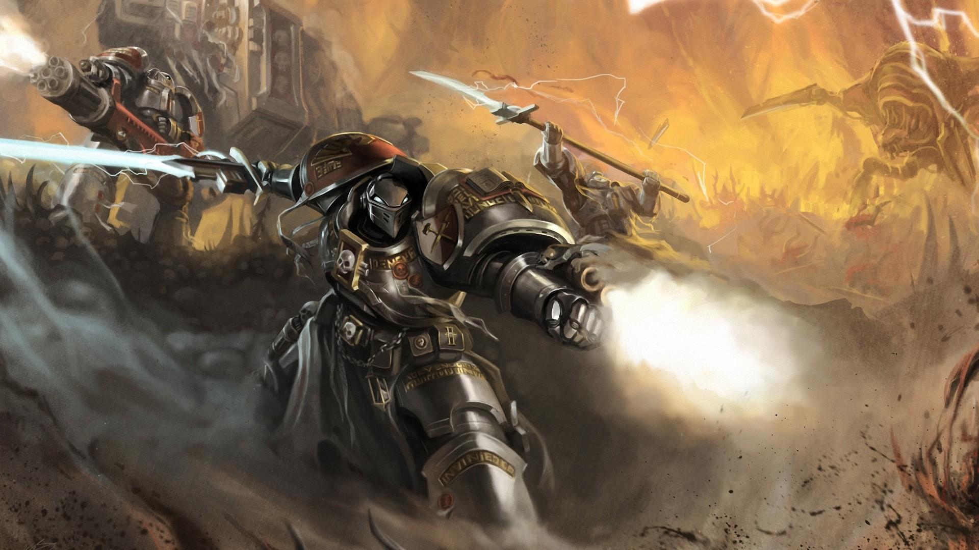 Preview wallpaper okita, warhammer 40k, space marines, robot, weapon, sword,