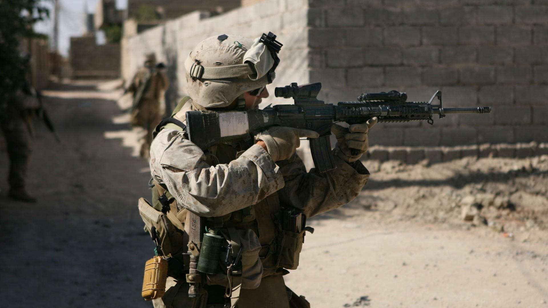 Guns US Marines Corps M16A4 ACOG : Desktop and mobile wallpaper .