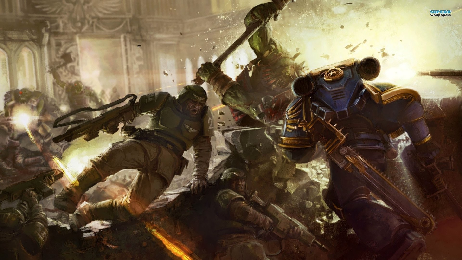 Warhammer Space Marine Combat HD desktop wallpaper 1920×1080