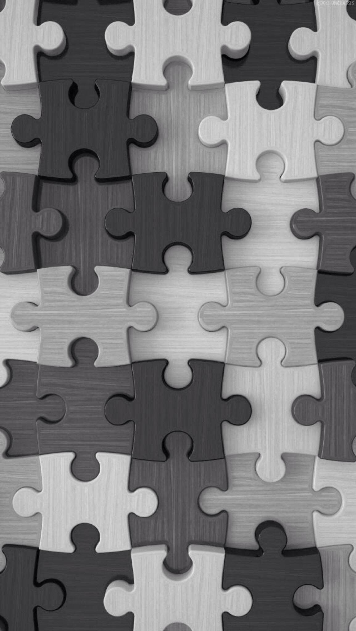 Grey Puzzle Pieces Wallpaper