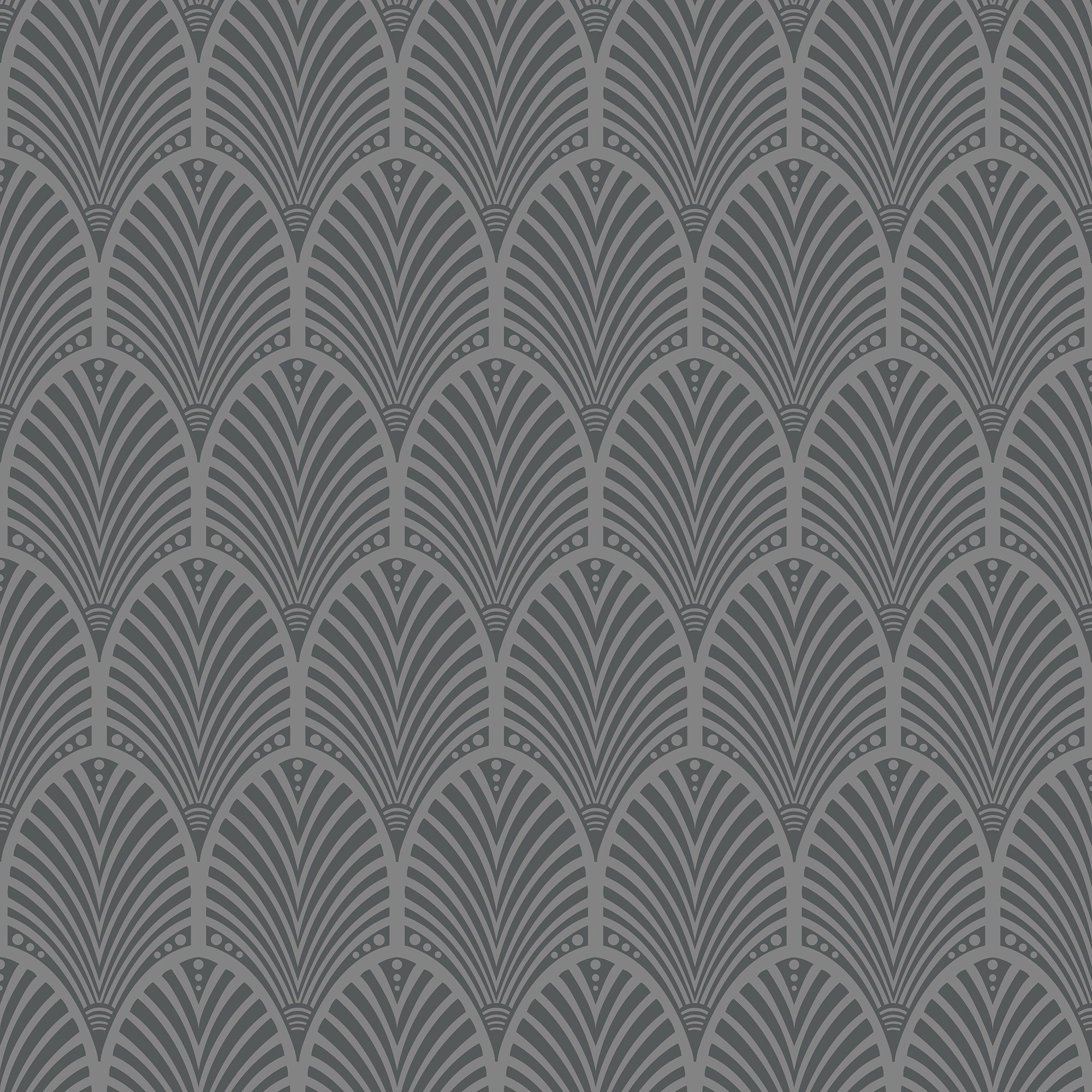Grey Art Deco Peacock Wallpaper
