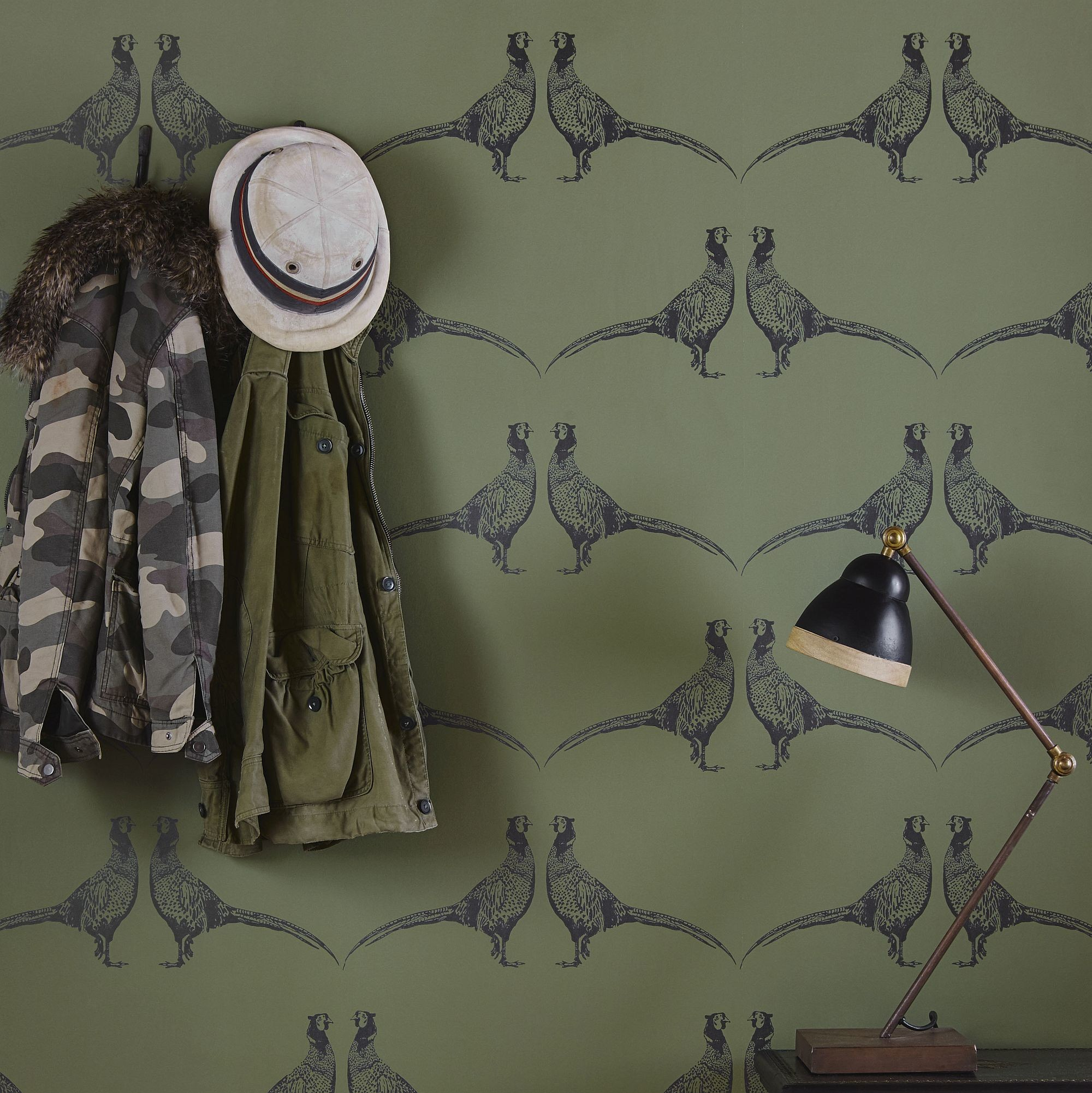 … Barneby Gates Pheasant Camo Green Wallpaper extra image …