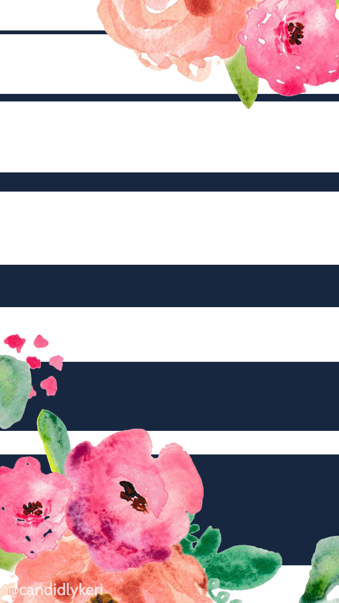 Flower and navy stripe cute wallpaper you can download for free on the  blog! For