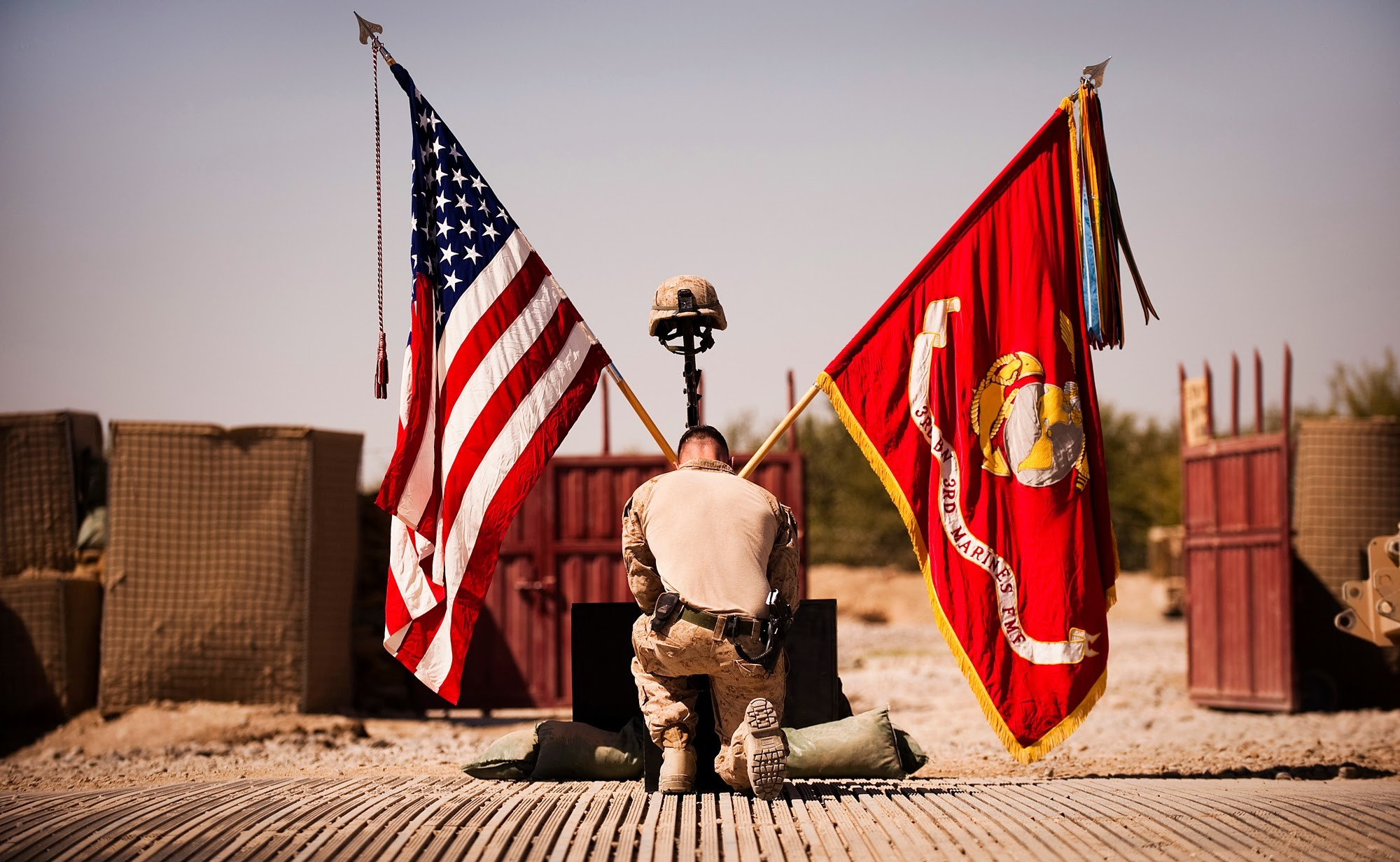 Marines pay respects to fallen brothers – A Marine says goodbye to 1st Lt.  Scott J. Fleming during his memorial service at Patrol Base Jaker,  Afghanistan, …