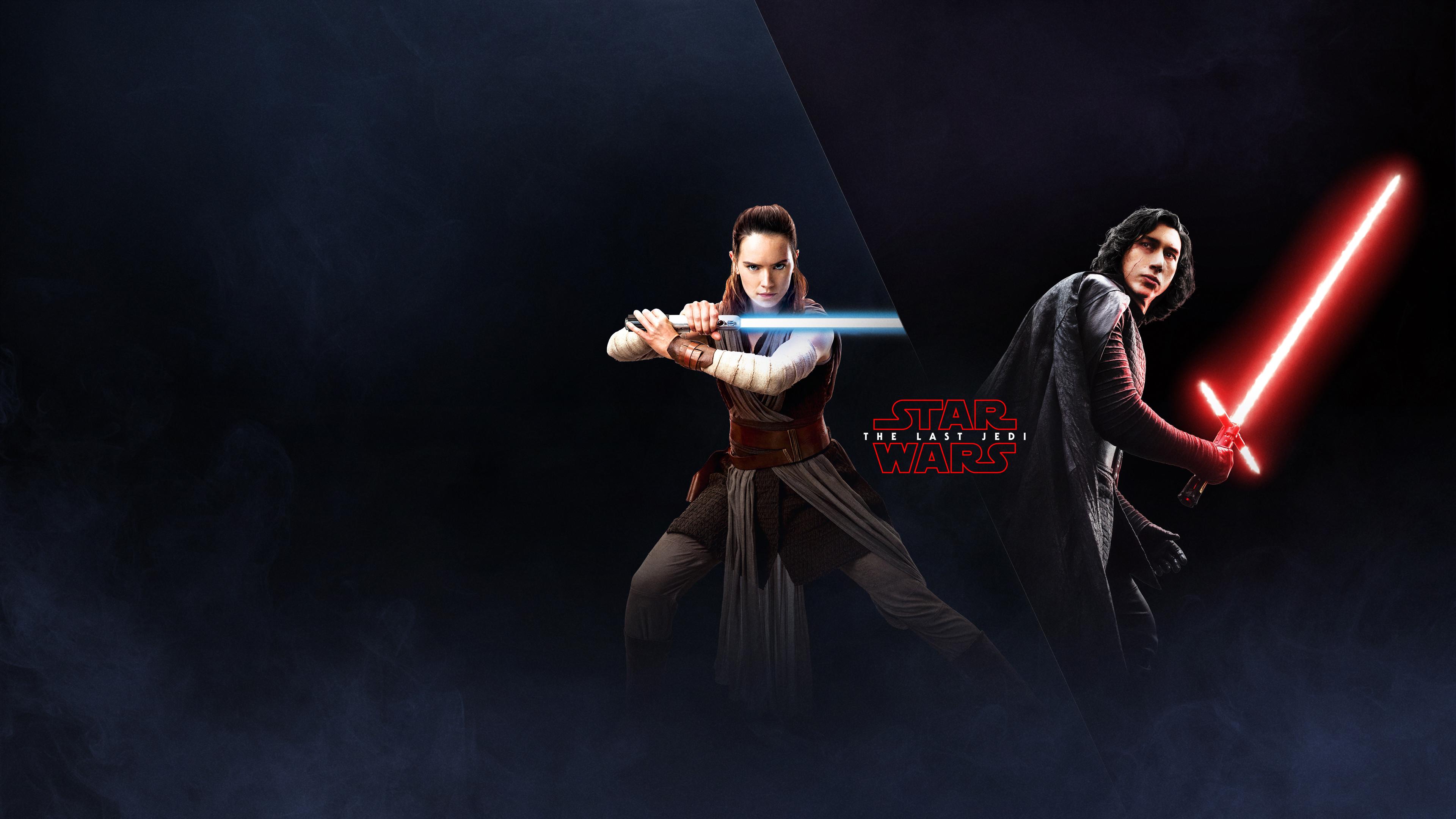 The Last Jedi Wallpaper Rey and Kylo Ren EA Battlefront 2 Poster
