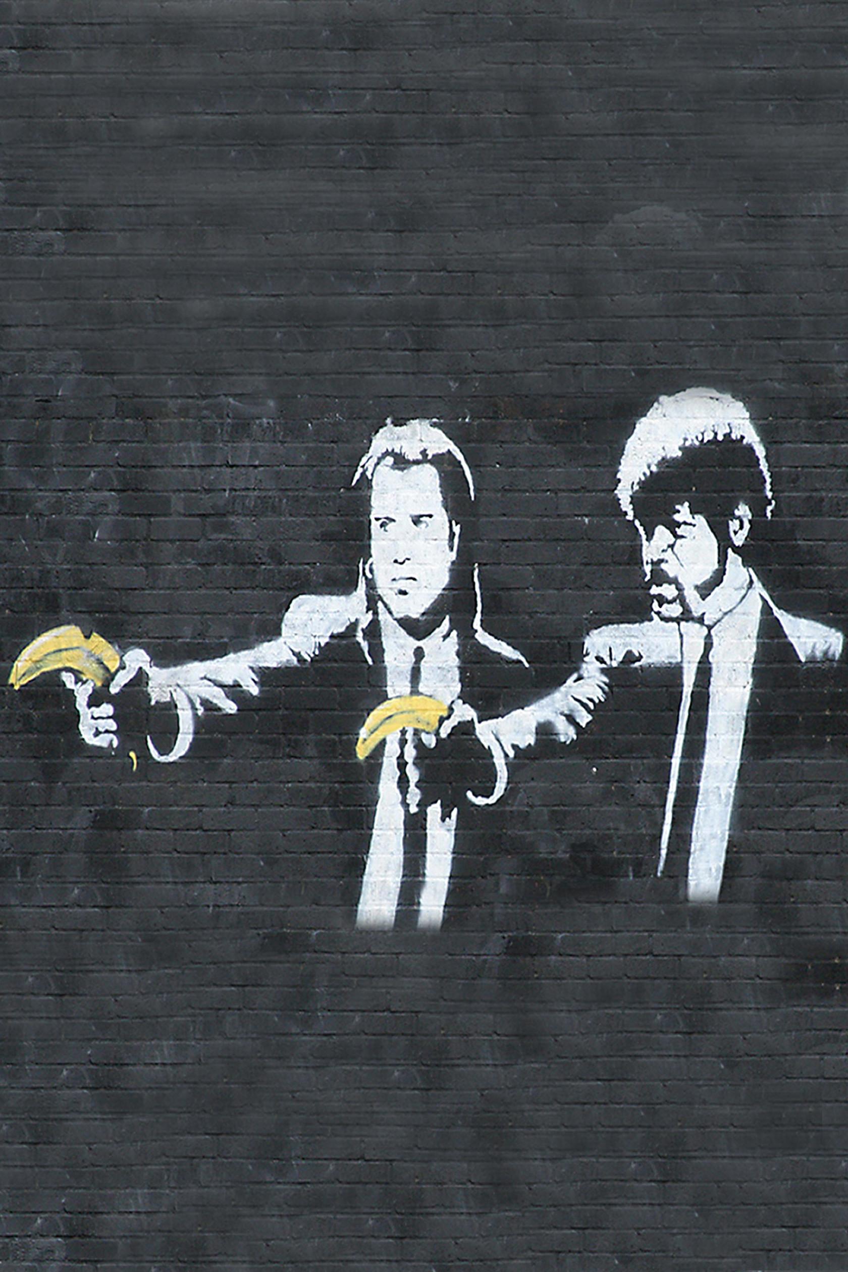 Banksy Pulp Fiction Android Wallpaper. Banksy Pulp Fiction Android Wallpaper