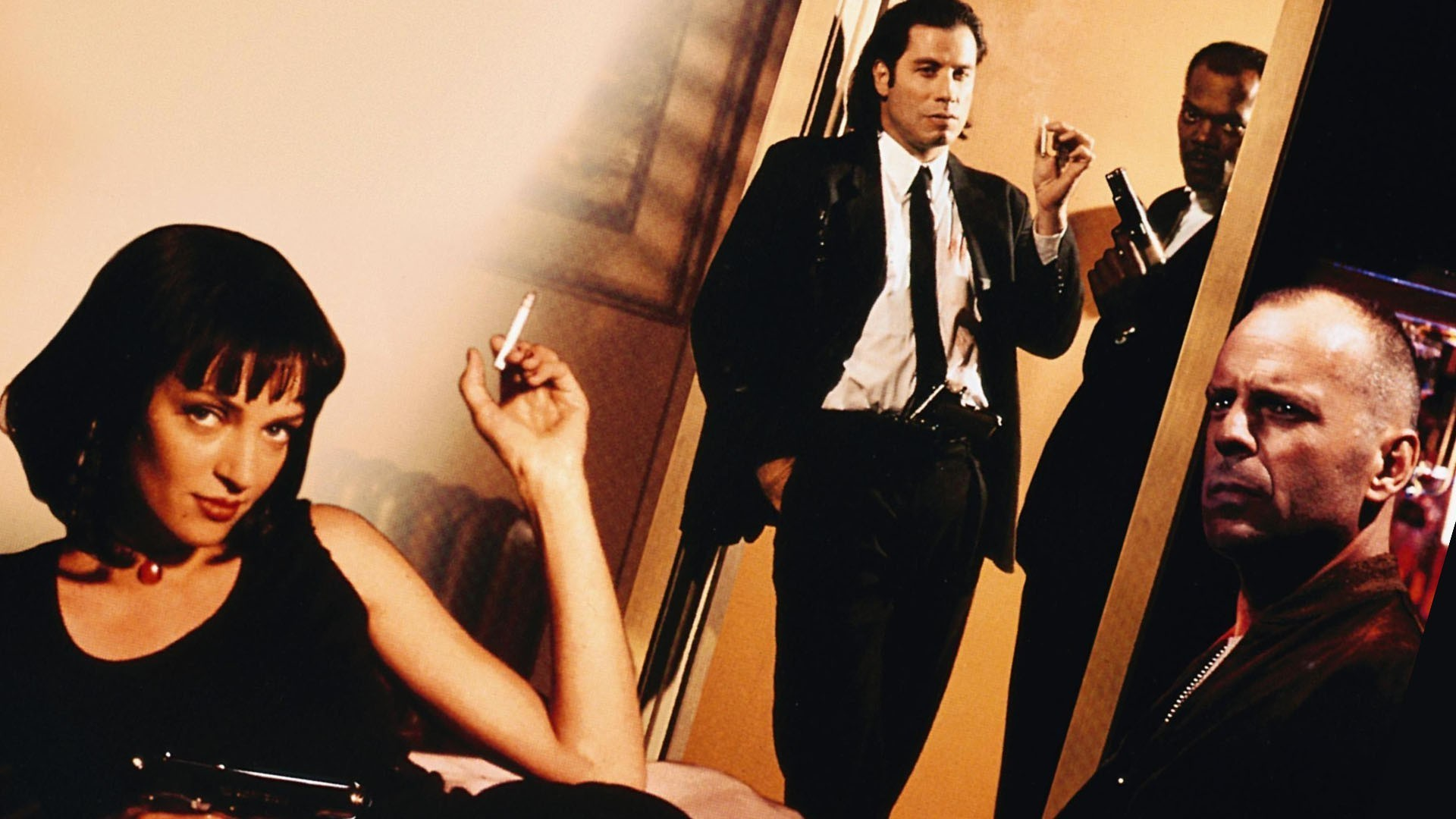 movies, Pulp Fiction, Uma Thurman, Bruce Willis, Samuel L. Jackson, John  Travolta Wallpapers HD / Desktop and Mobile Backgrounds