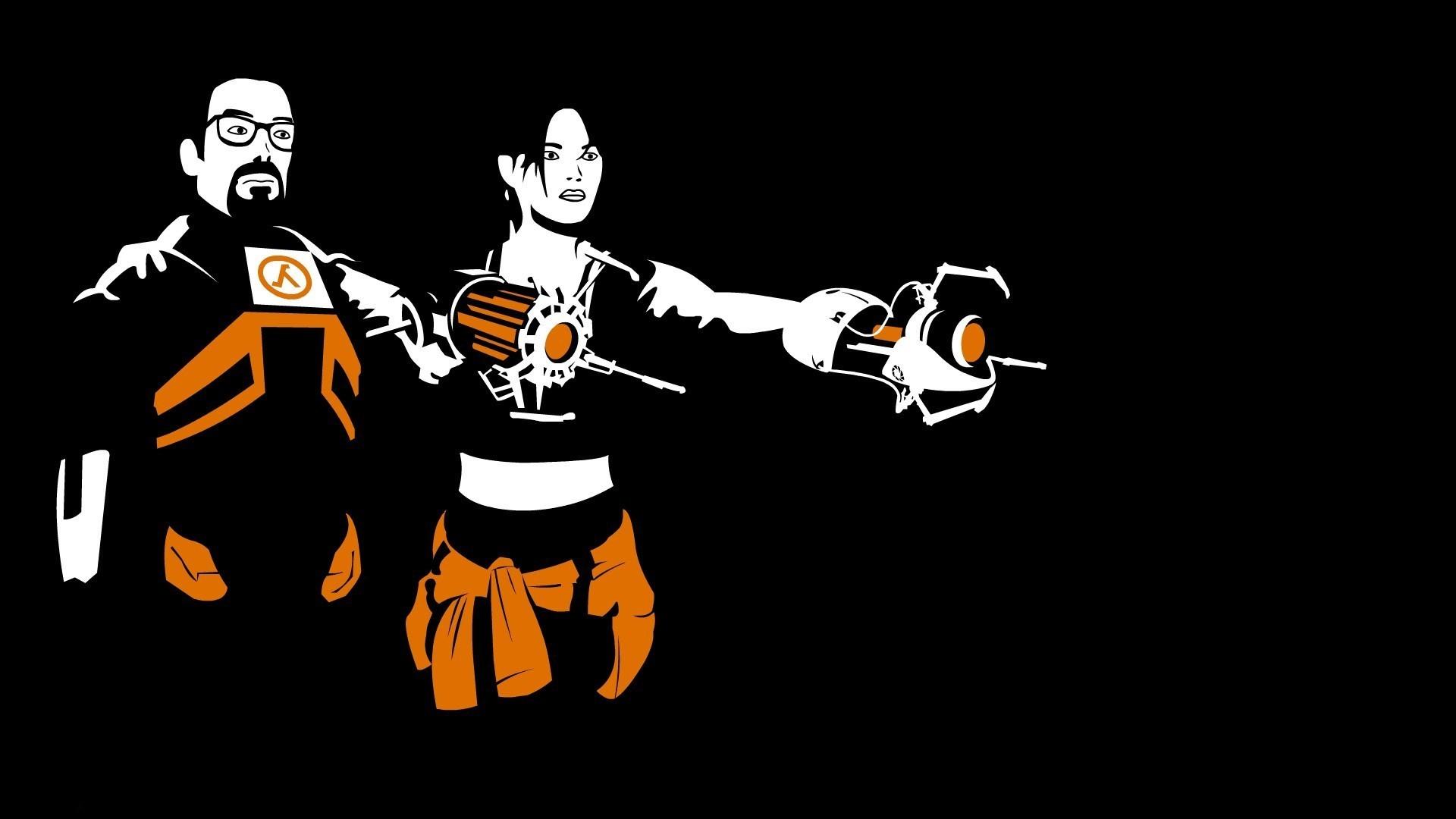 Half Life 2, Portal 2, Black Background, Vectors, Orange, Video Games