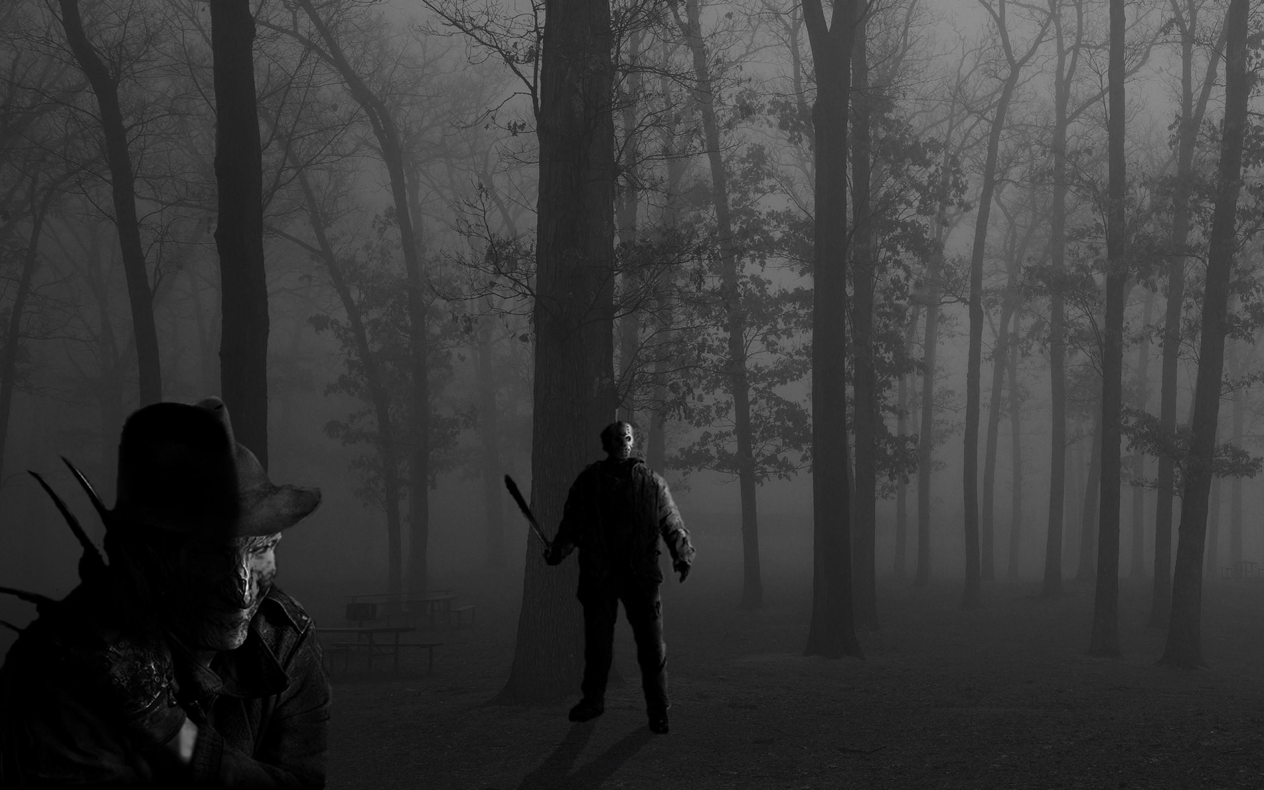 horror forest darkness psycho freddy krueger jason voorhees michael myers  leatherface 3200×1200 w Art HD Wallpaper