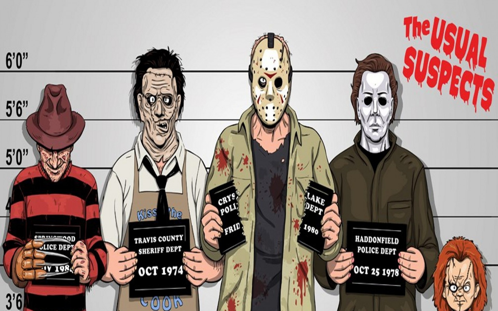 comics funny freddy krueger jason voorhees michael myers the usual suspects  leatherface 1600×1200 Art HD Wallpaper