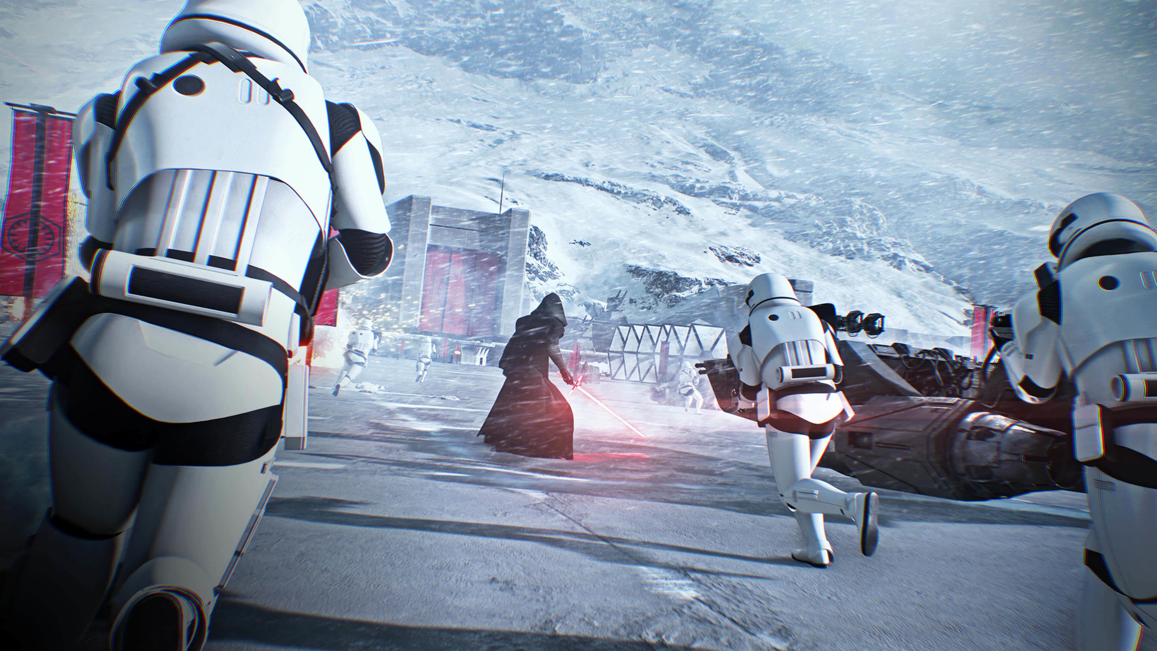 Star Wars: Battlefront II Kylo Ren & Stormtroopers wallpaper