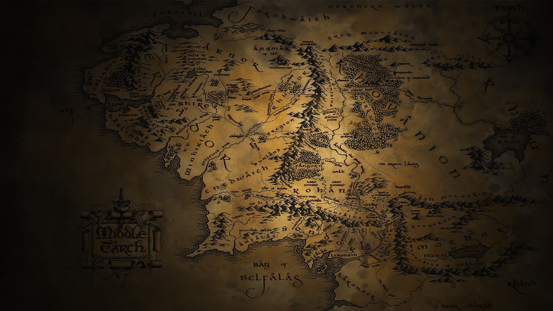 Middle-earth map – The Lord of the Rings HD Wallpaper 1920×1080
