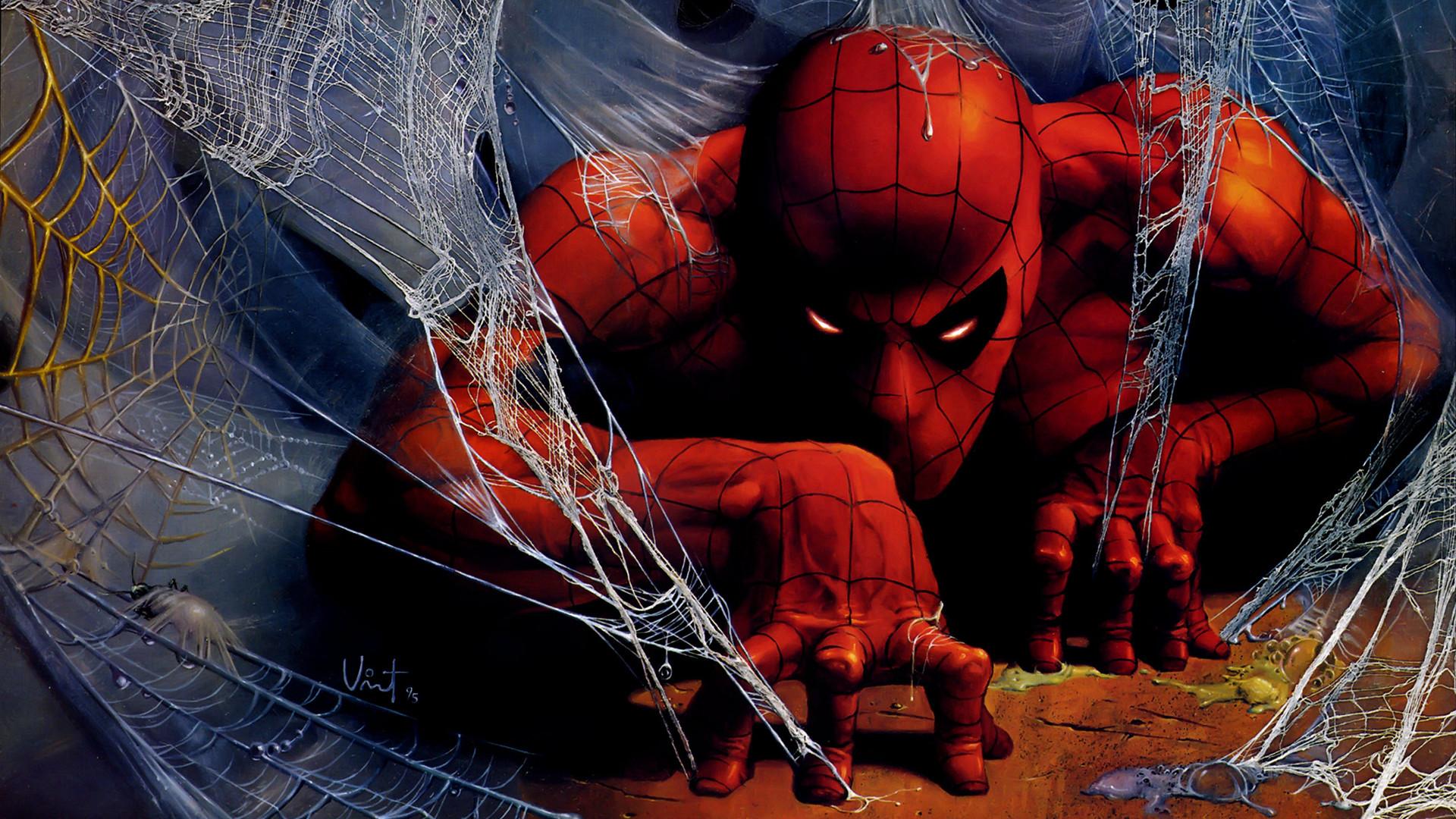 Preview wallpaper spider man, spiderman, web, art 1920×1080