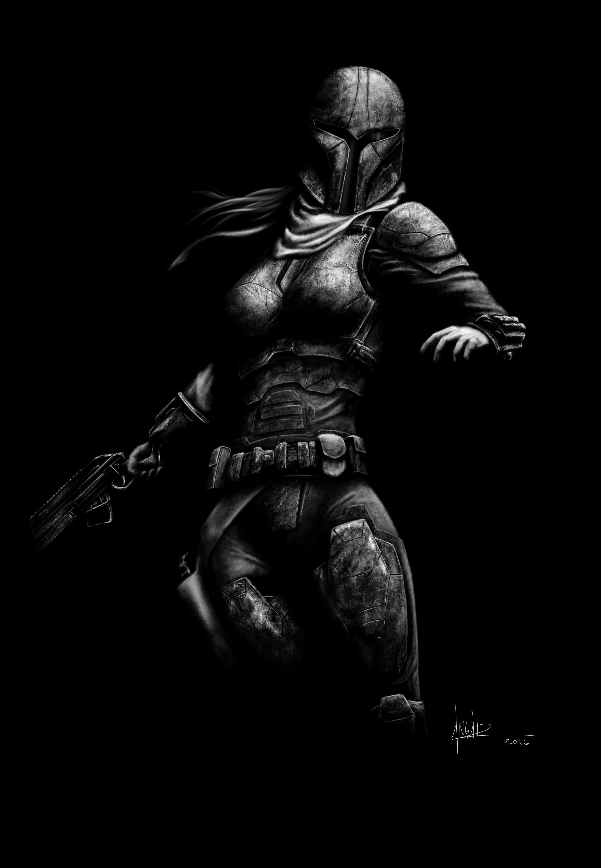 This is character that I created based on the Mandalorian warriors from the Star  Wars Universe.