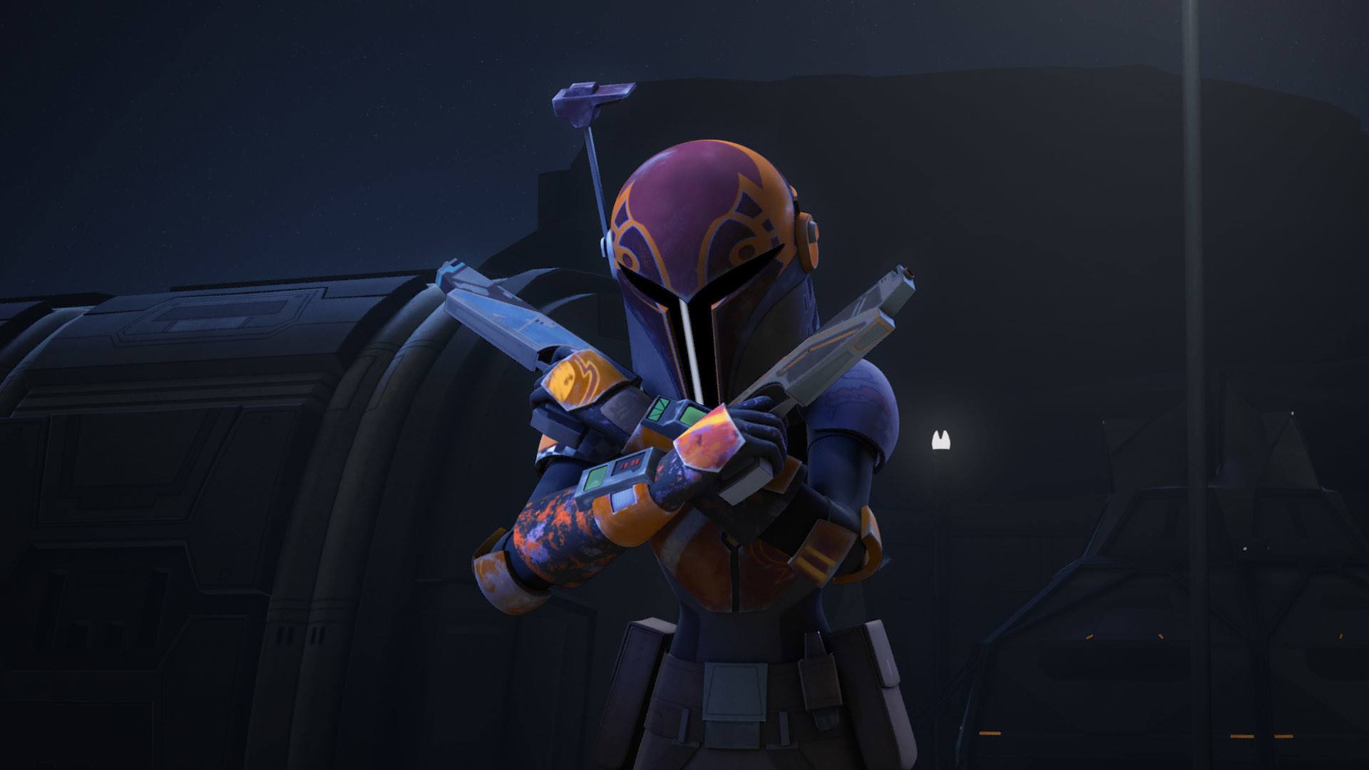 As far as Sabine's backstory… we got some. We got the mention of House  Vizsla and learned her mother was a member of Death Watch. That's more or  less it.
