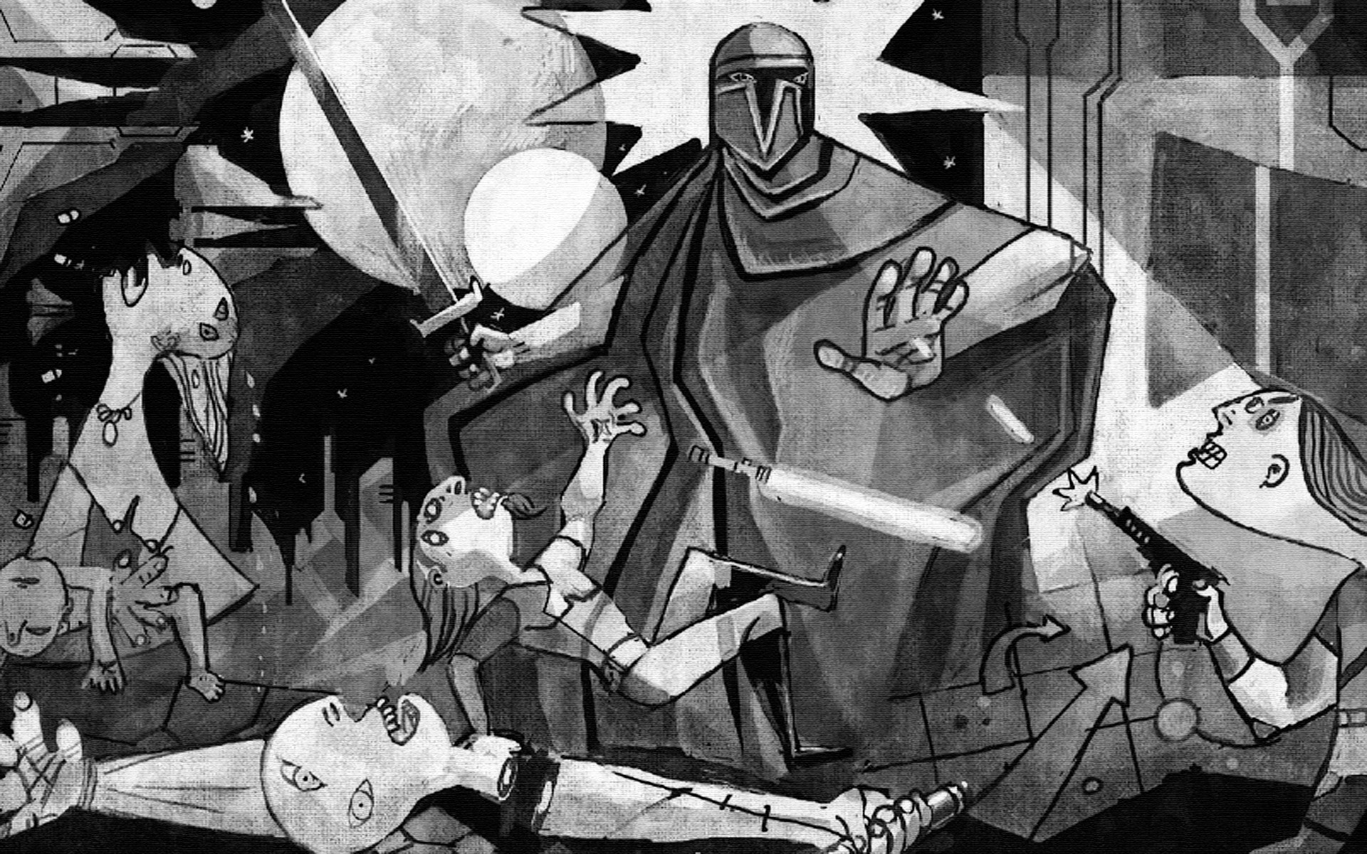 'Star Wars: Clone Wars meets Picasso's Guernica' via Empire Online  wallpaper (click for full size)