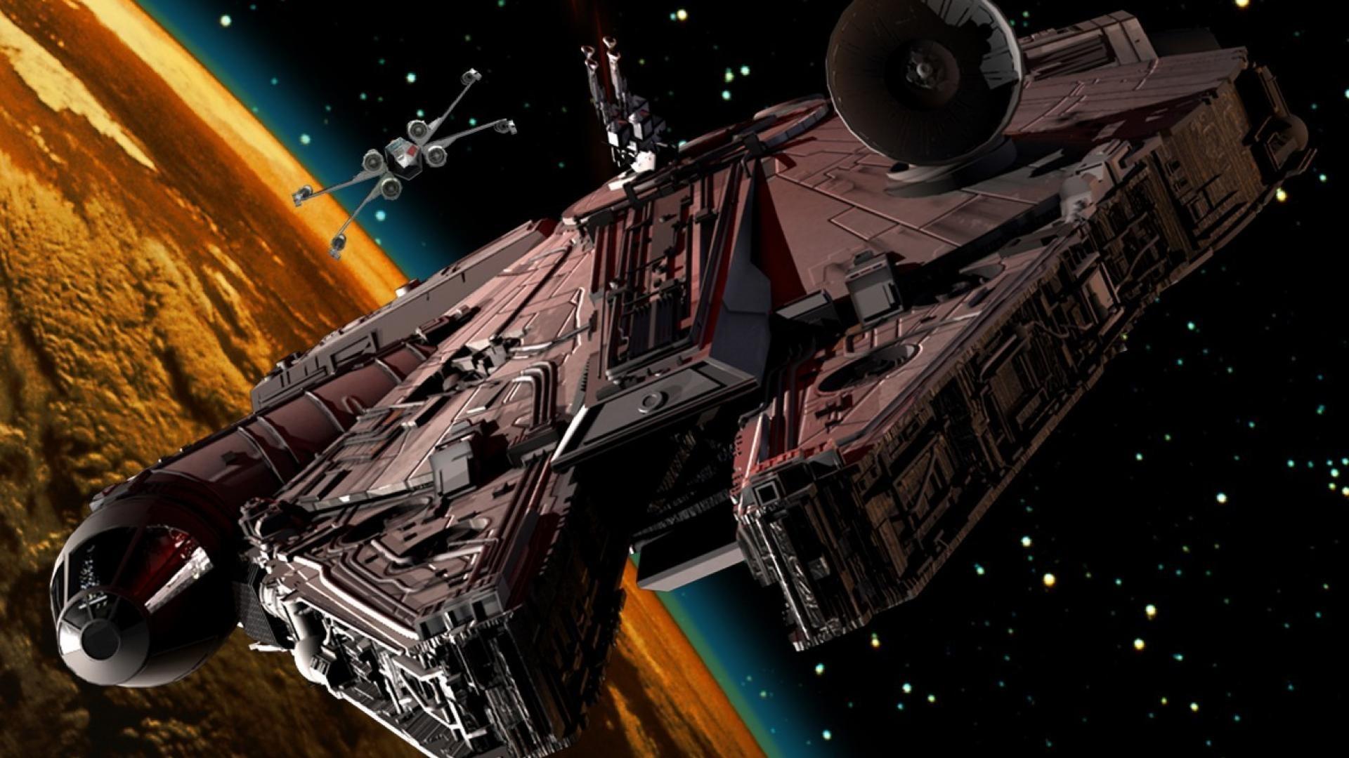 Spaceships millennium falcon x-wing science fiction artwork .