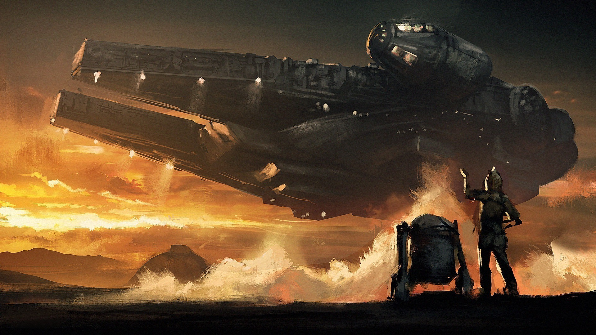 Star Wars, C 3PO, Millennium Falcon, R2 D2, Sunset, Clouds, Painting Wallpapers  HD / Desktop and Mobile Backgrounds