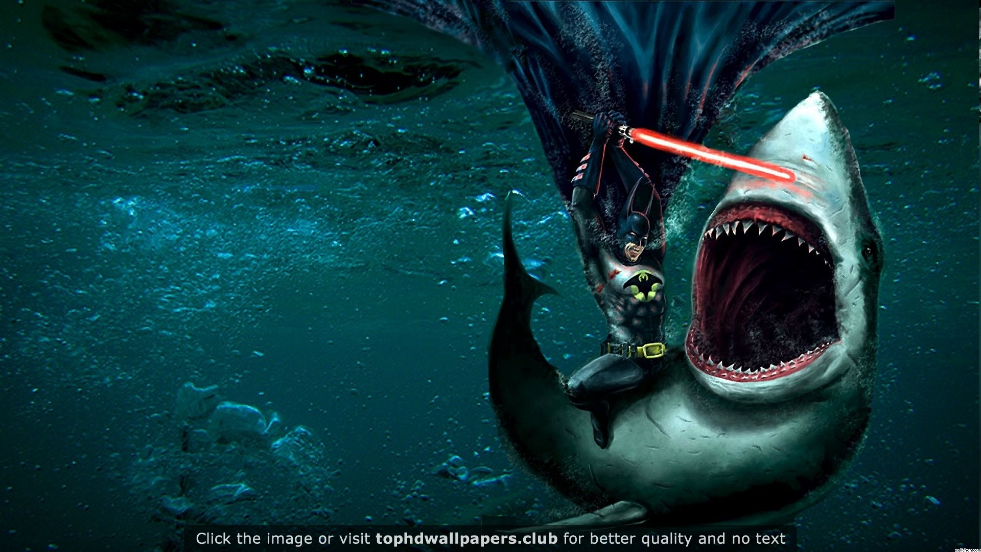 Batman Fighting a Shark With a Lightsaber 4K or HD wallpaper for your PC,  Mac