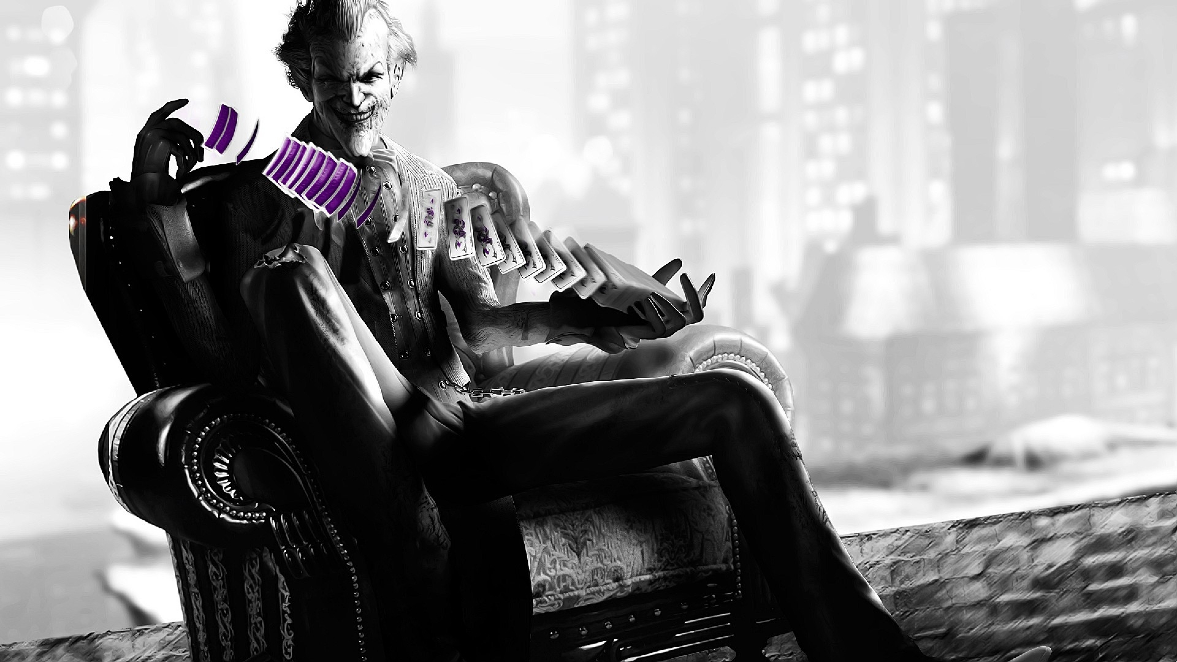 Preview wallpaper batman arkham city, the joker, armchair, cards, trick,  black