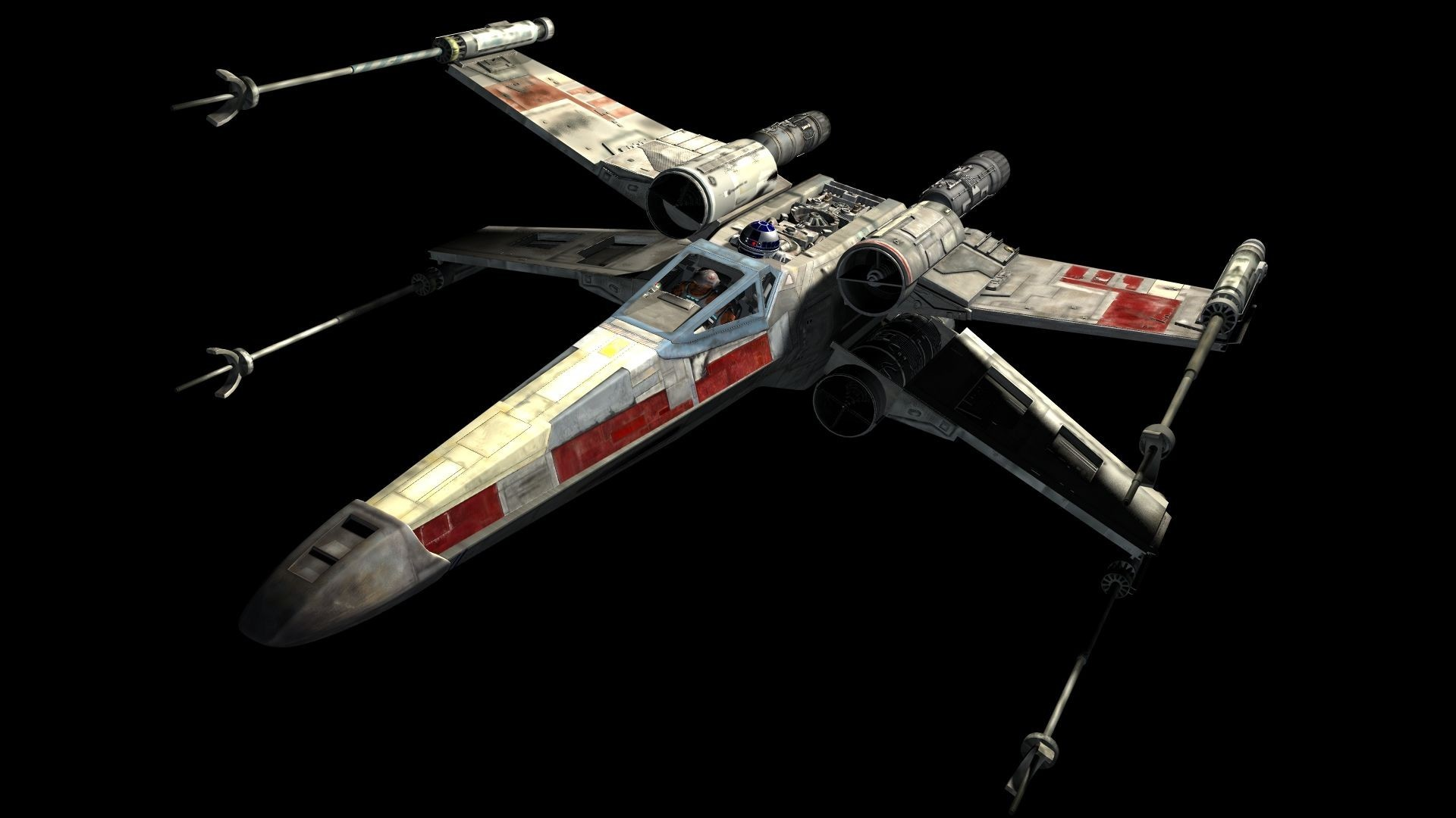 General Star Wars X-wing science fiction R2-D2 space movies black  background