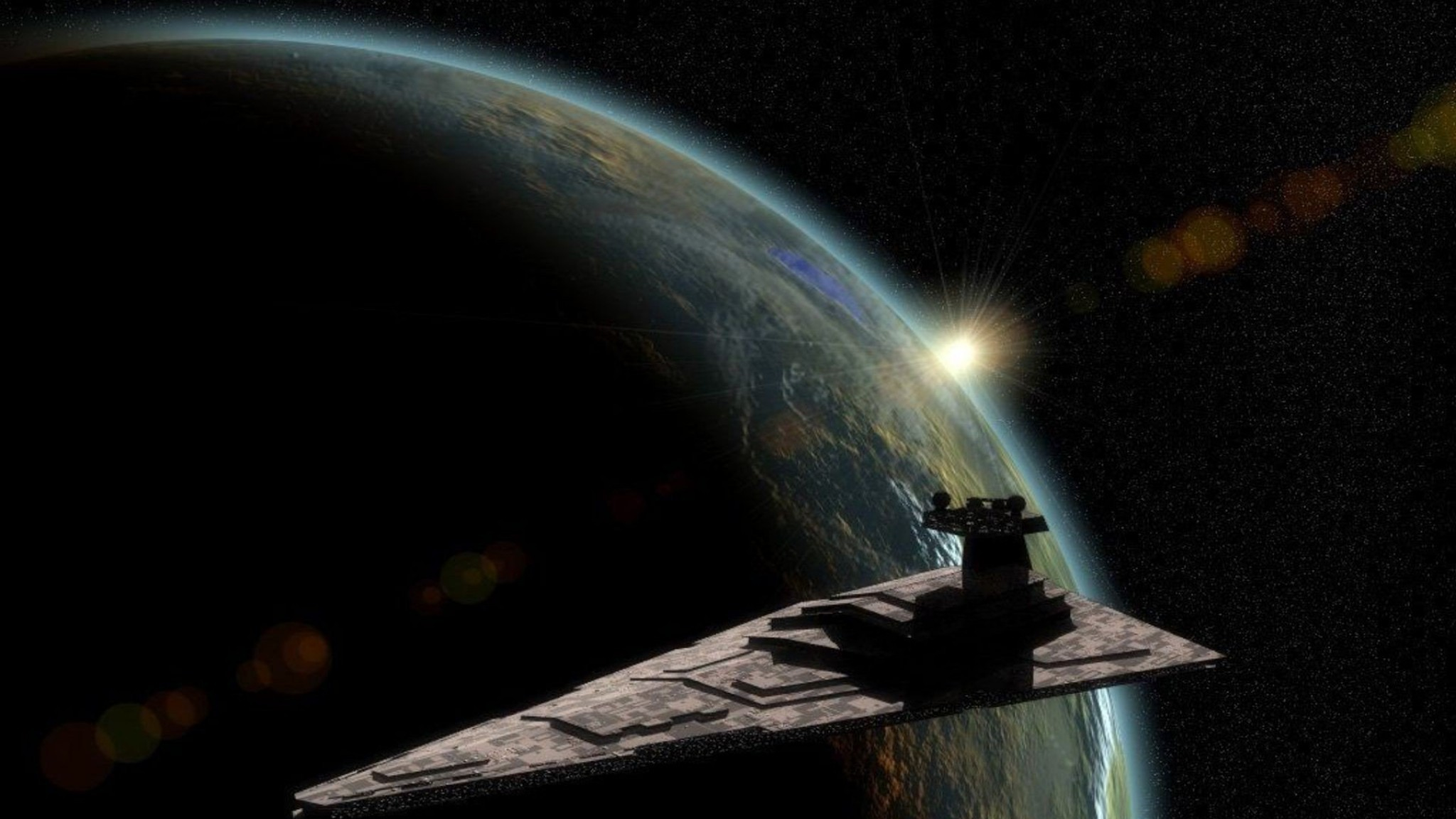 Star Wars outer space stars planets artwork Star Destroyer