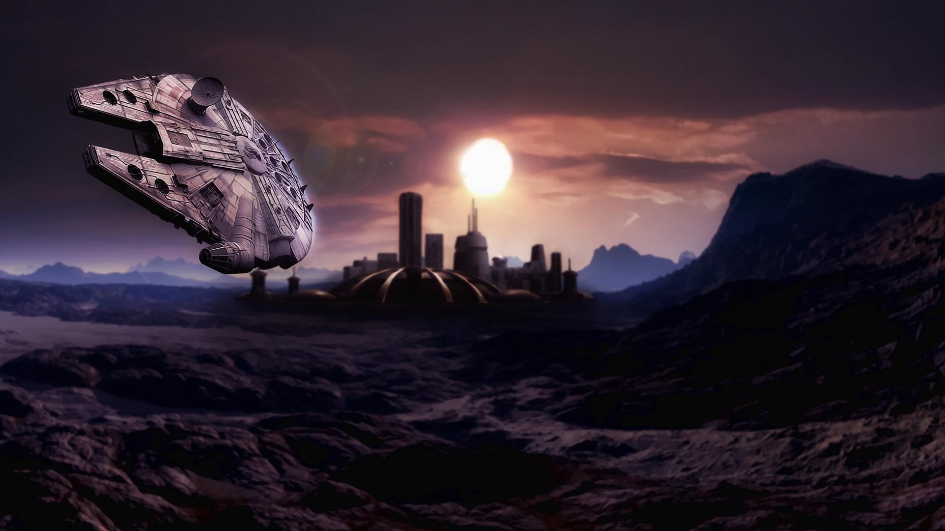 sci-fi spaceship spacecraft star-wars wars cities planets Millennium .