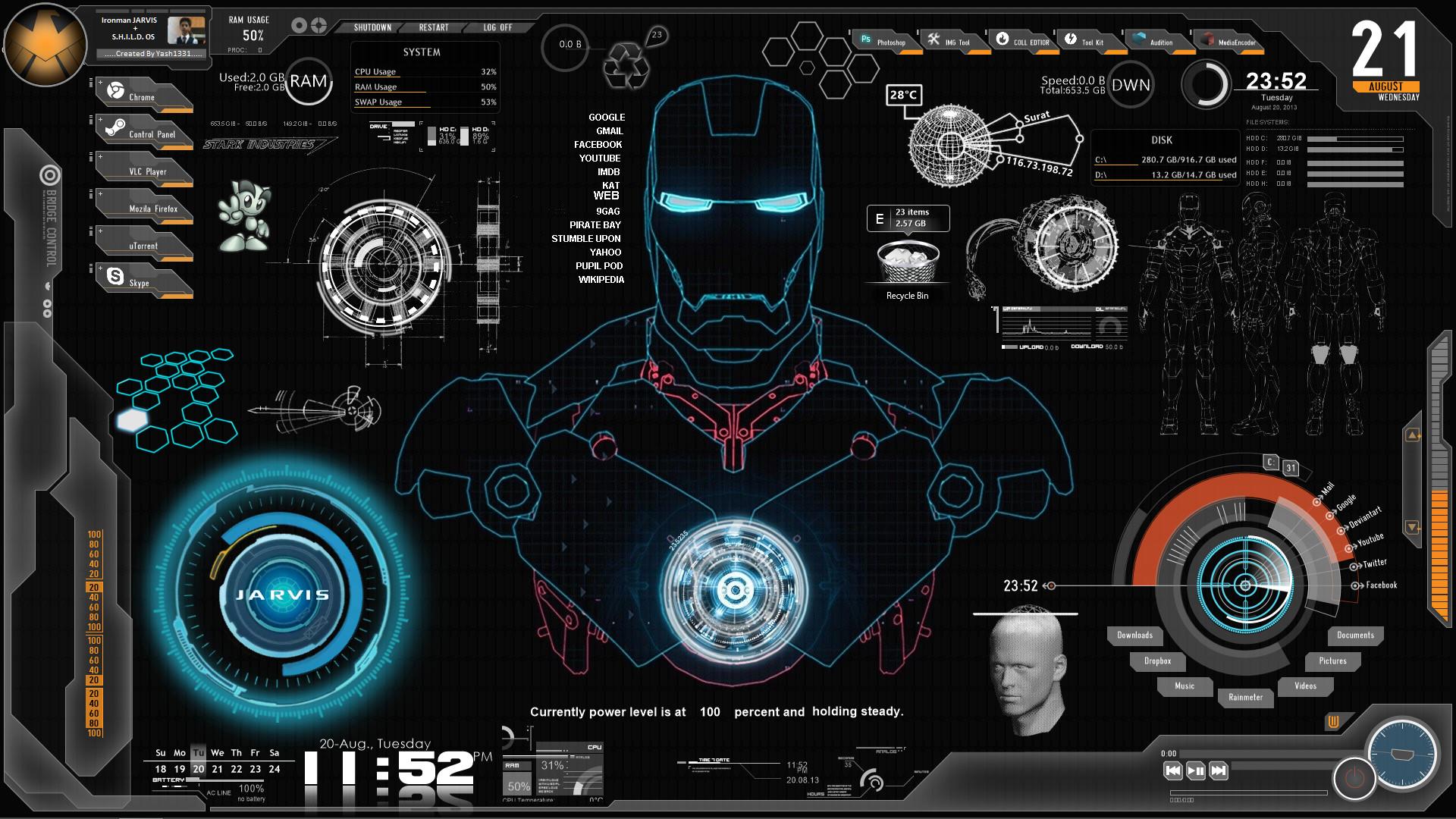 Iron Man Jarvis Wallpaper Ironman jarvis shield.