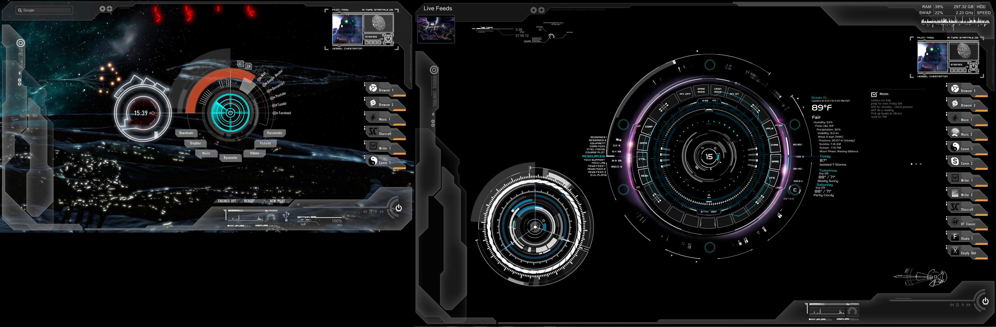 Prometheus Windows 7 Theme-Rainmeter rated popular by mannem on .