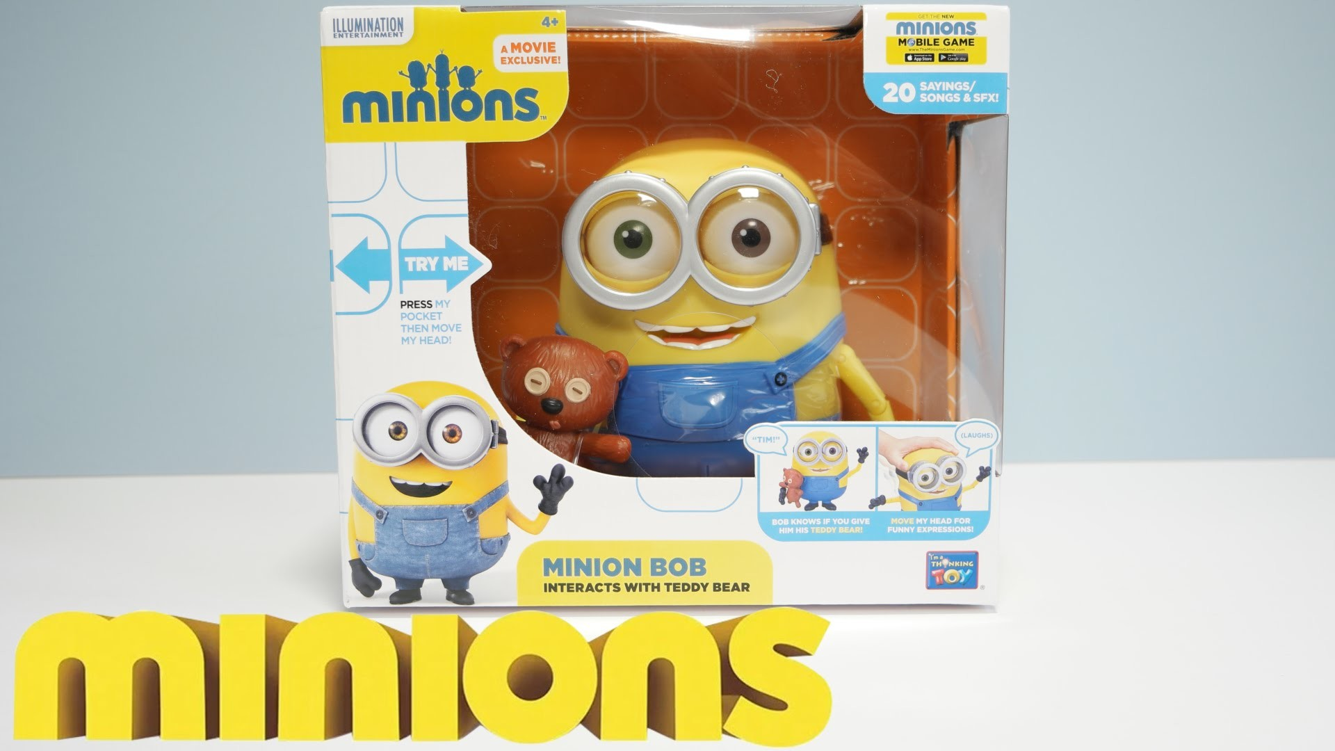 """MINION BOB WITH TEDDY BEAR – 8"""" ACTION FIGURE – New 2015 Minions Movie  Exclusive Toys – YouTube"""