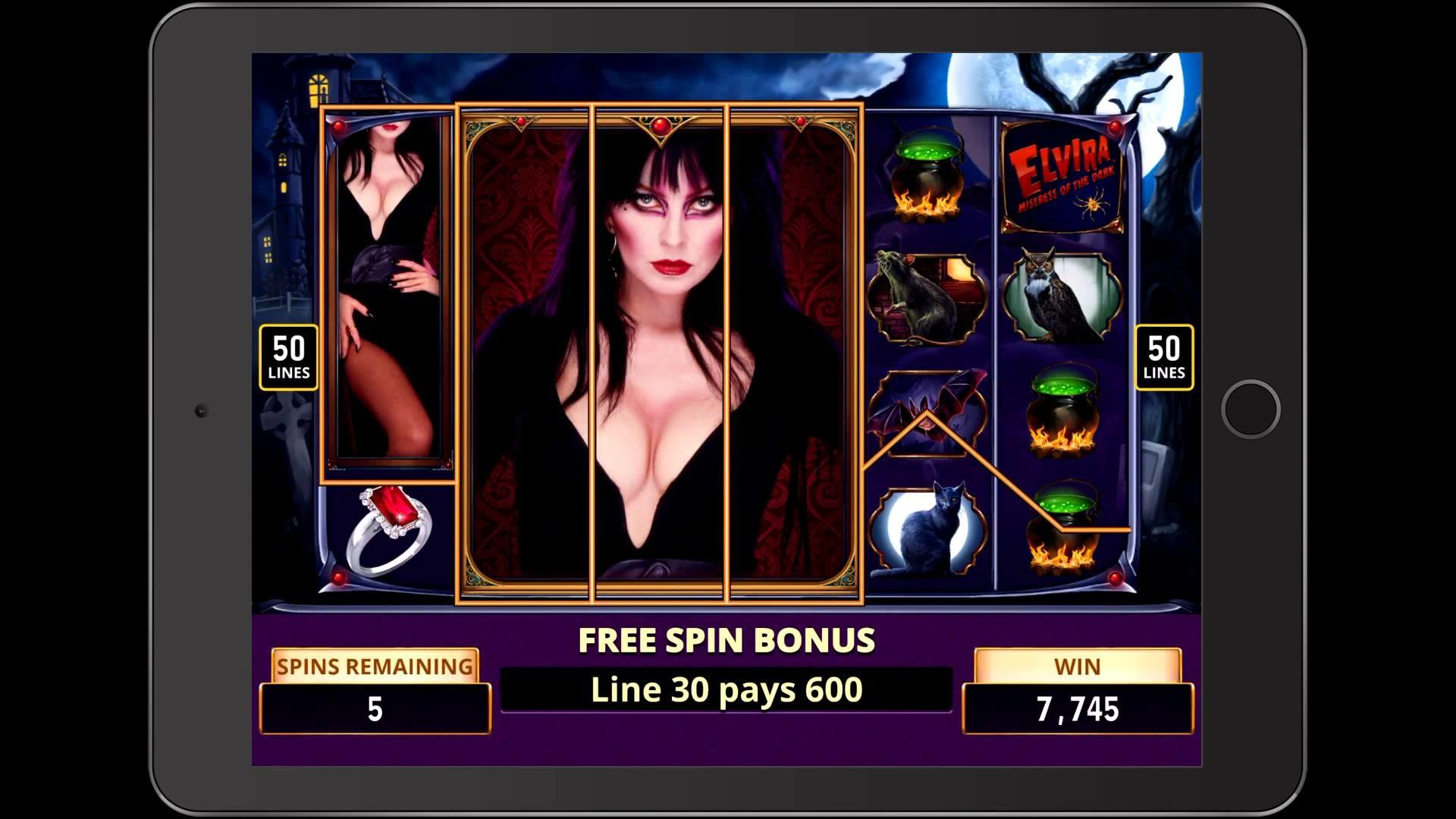 ELVIRA MISTRESS OF THE DARK Penny Video Slot Game with an ELVIRA FREE SPIN  BONUS