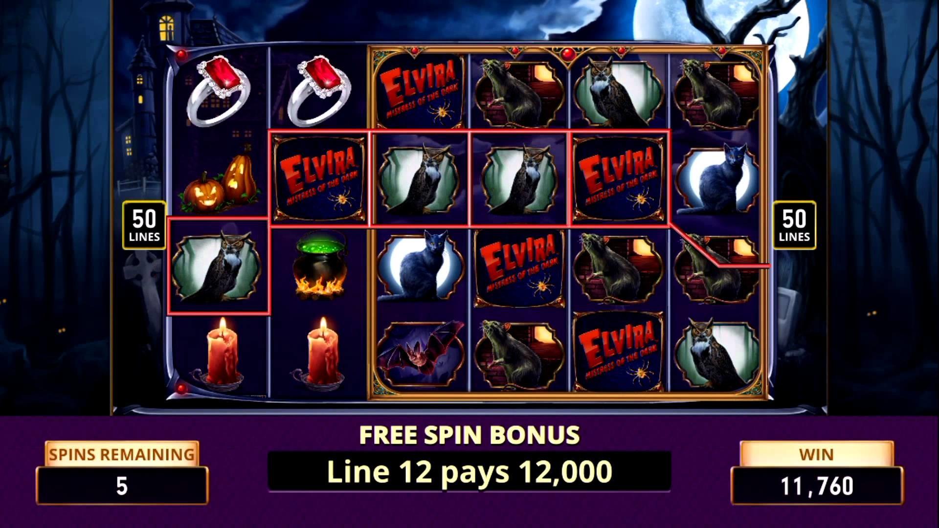 ELVIRA MISTRESS OF THE DARK Video Slot Machine Game with an ELVIRA FREE  SPIN BONUS