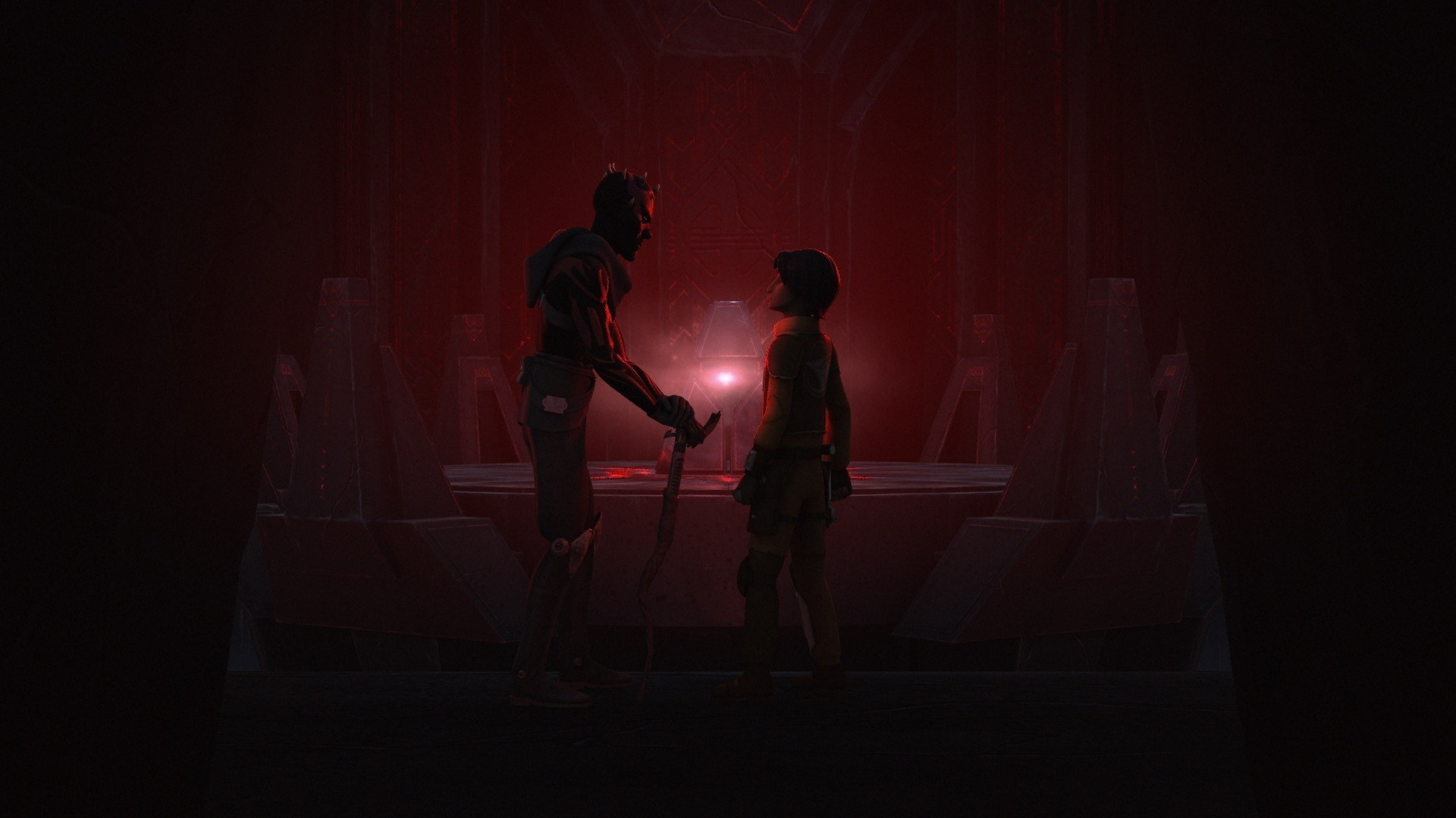 Star Wars Rebels – Maul and Ezra in front of the Sith holocron