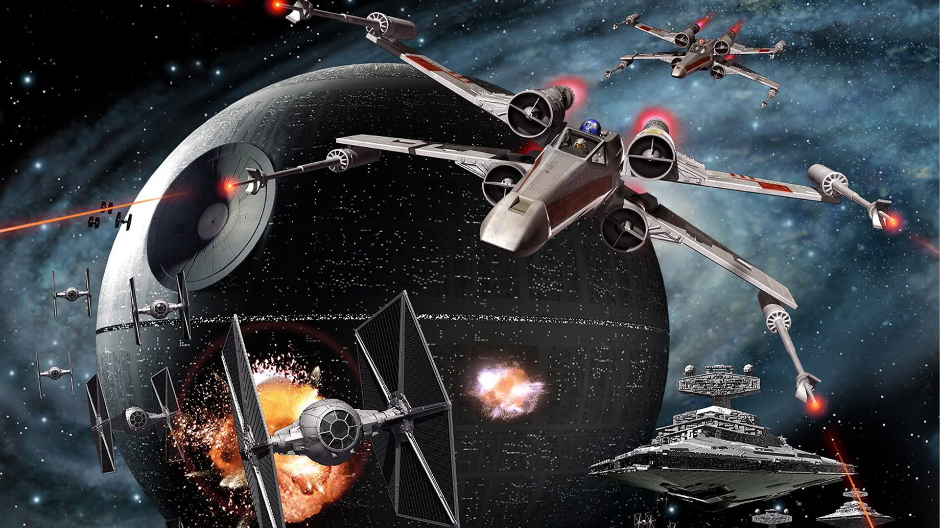 a nice piece of CG artwork showing the battle between the rebel alliance  and the empire over the death star. Looks very detailed as your wallpaper.