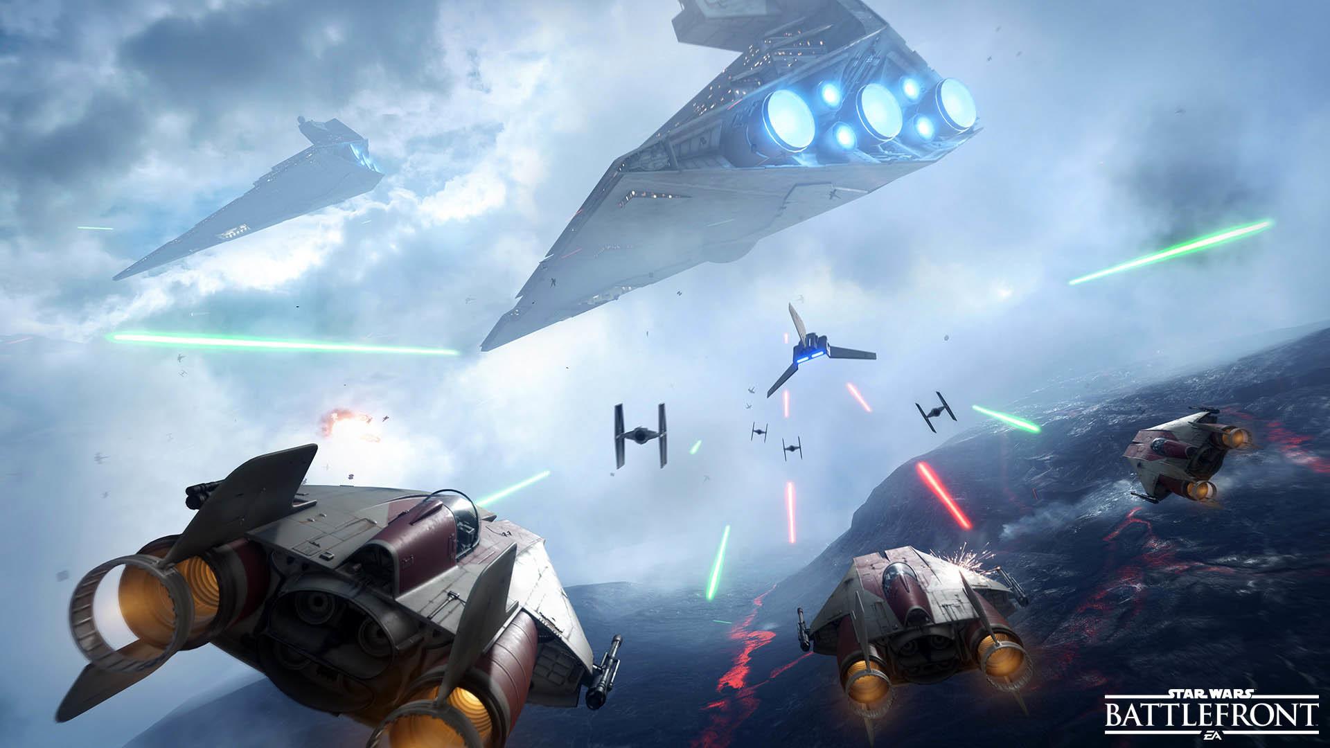 A-Wing VS Imperial Shuttle & Tie Fighters – Star Wars Battlefront  wallpaper