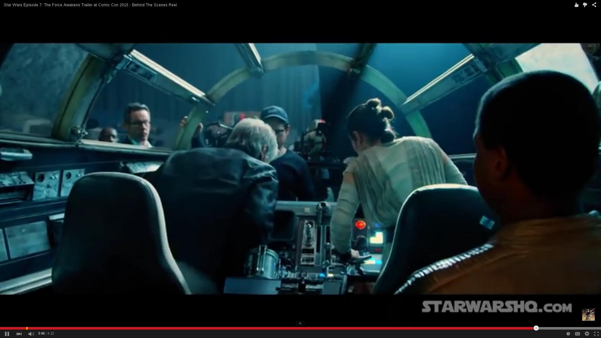 Inside the cockpit of the Millenium Falcon.