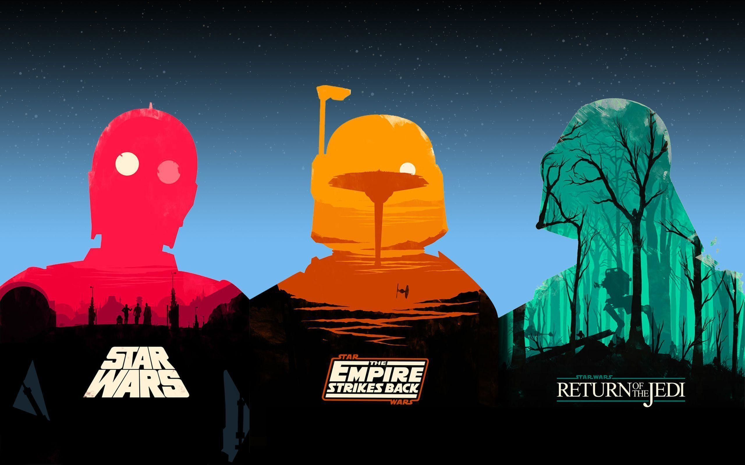 I've compiled Olly Moss' Star Wars posters into one epic wallpaper .