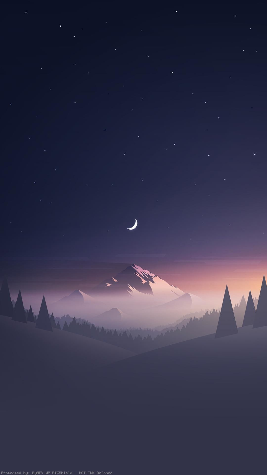 Stars-And-Moon-Winter-Mountain-Landscape-iPhone-HD-