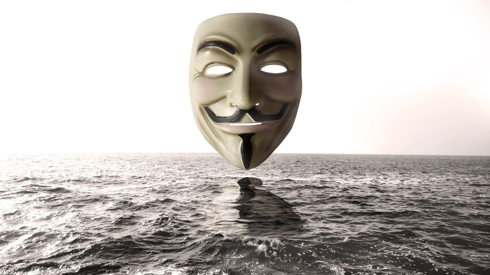 Anonymous mask above water wallpaper, Anonymous mask above water Digital  Art HD desktop wallpaper
