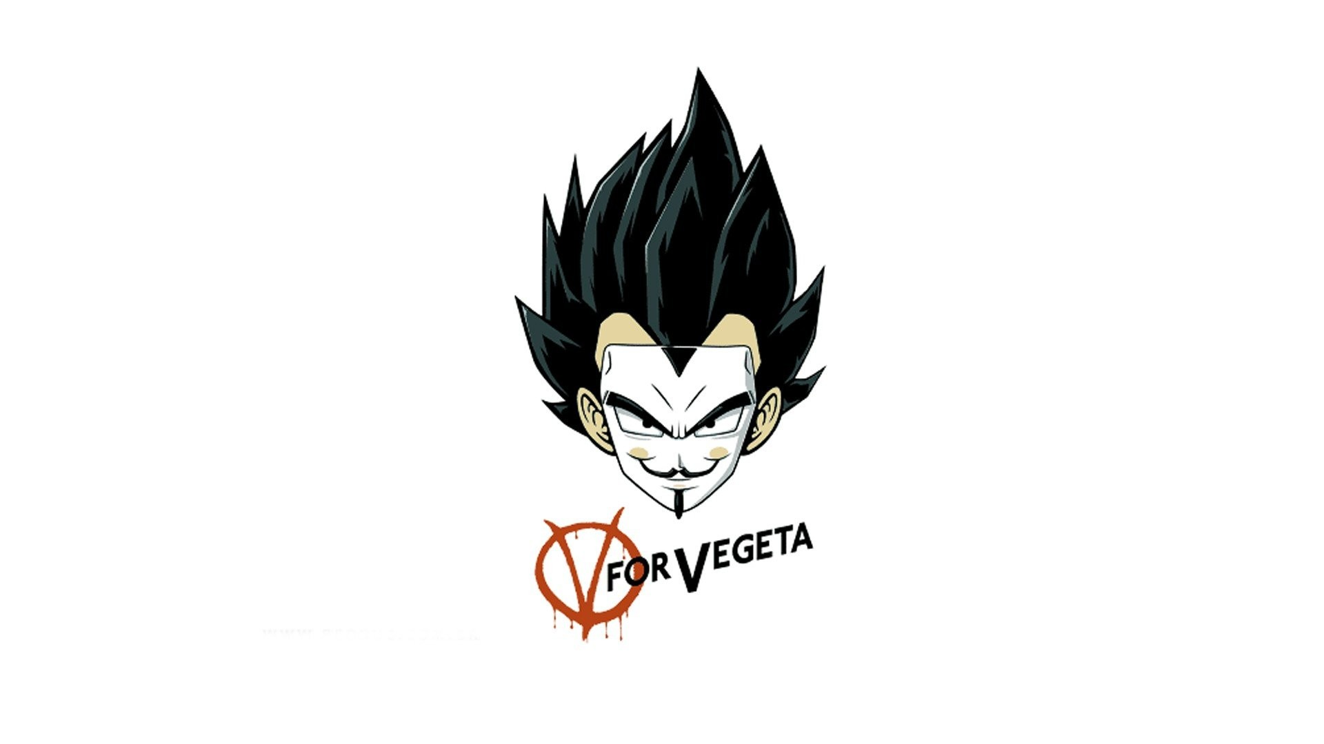Artwork Crossovers Dragonball Funny Minimalistic Vegeta V For Vendetta  White Background