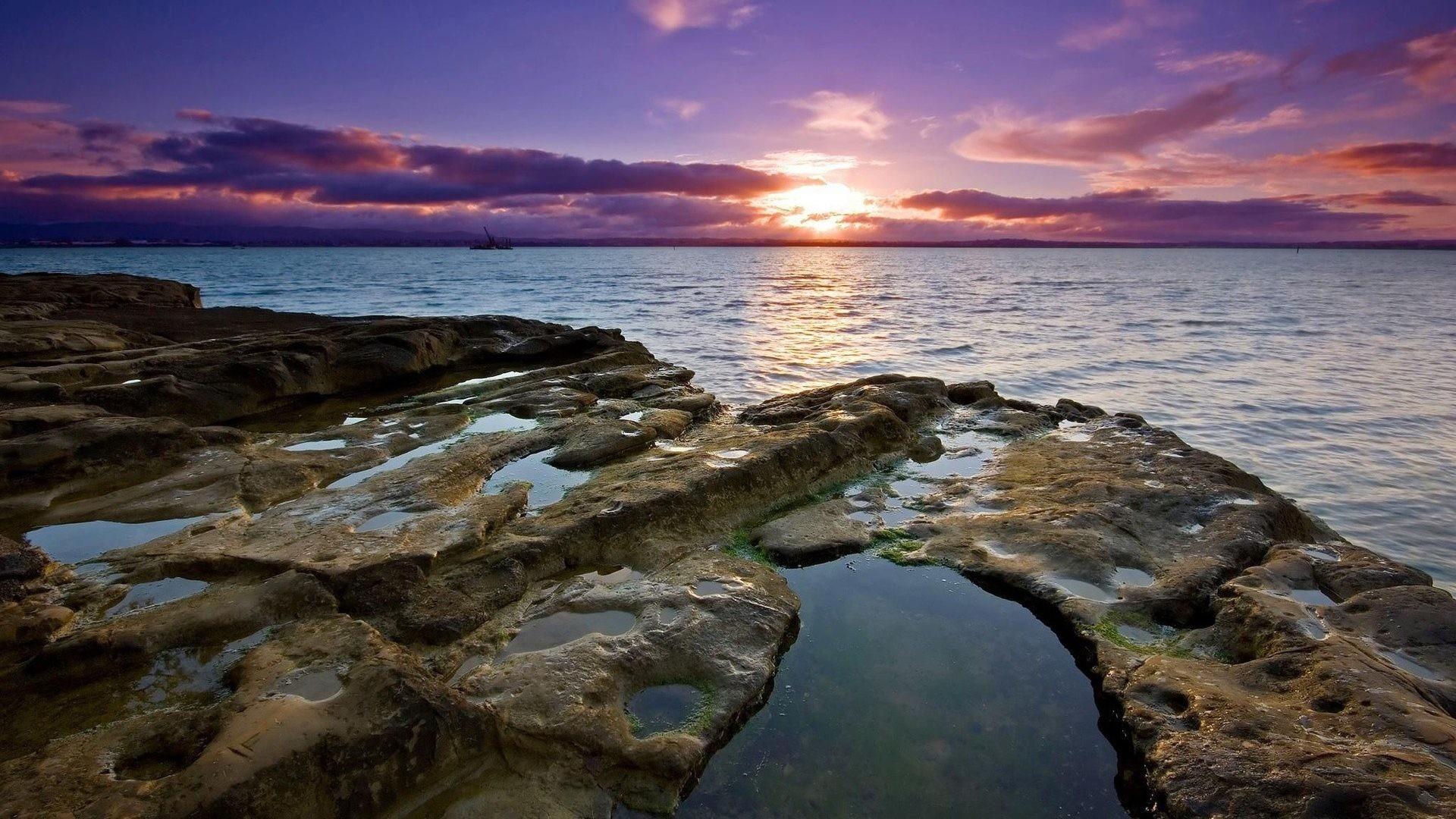 Rocky Tag – Beaches Ocean Sunset Coast Sea Clouds Shore Sky Rocky Landscape  Nature Wallpaper Hd