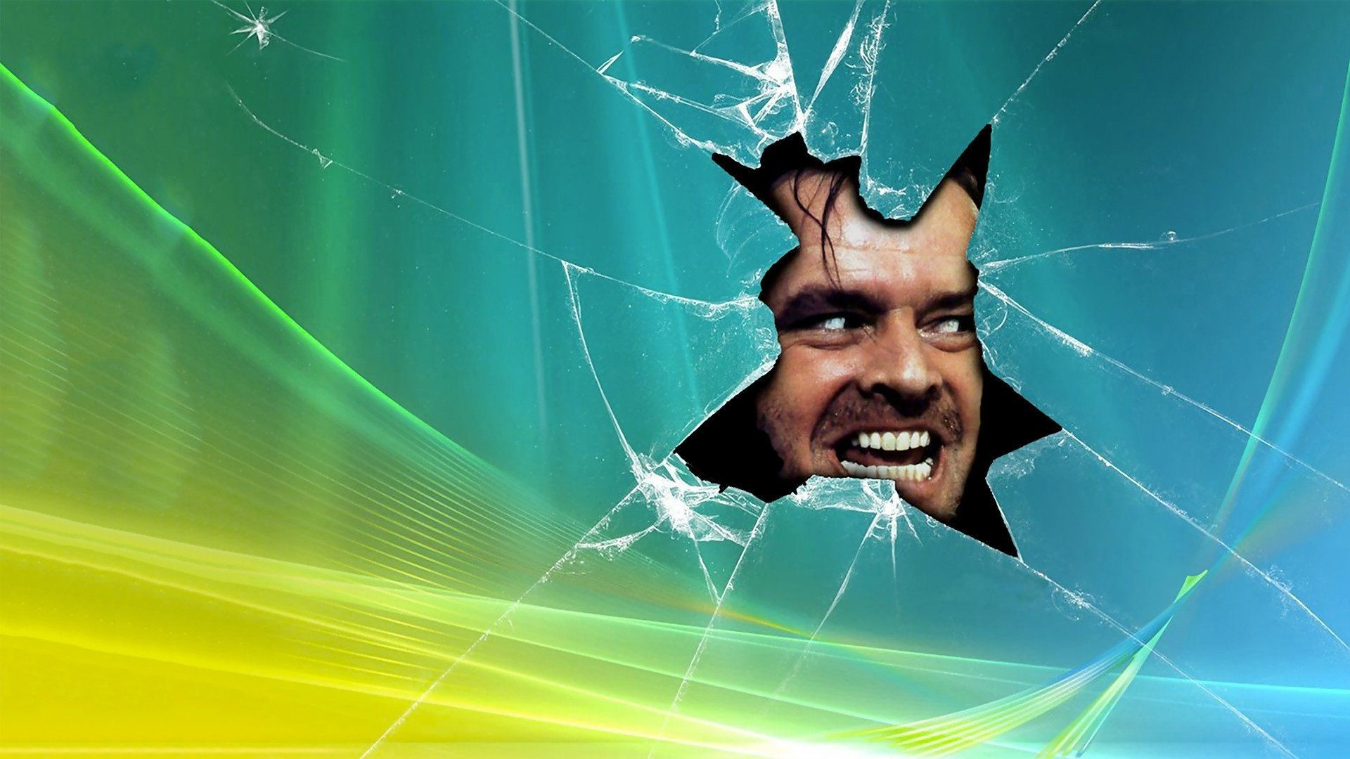 THE SHINING horror thriller dark movie film classic shatter glass .