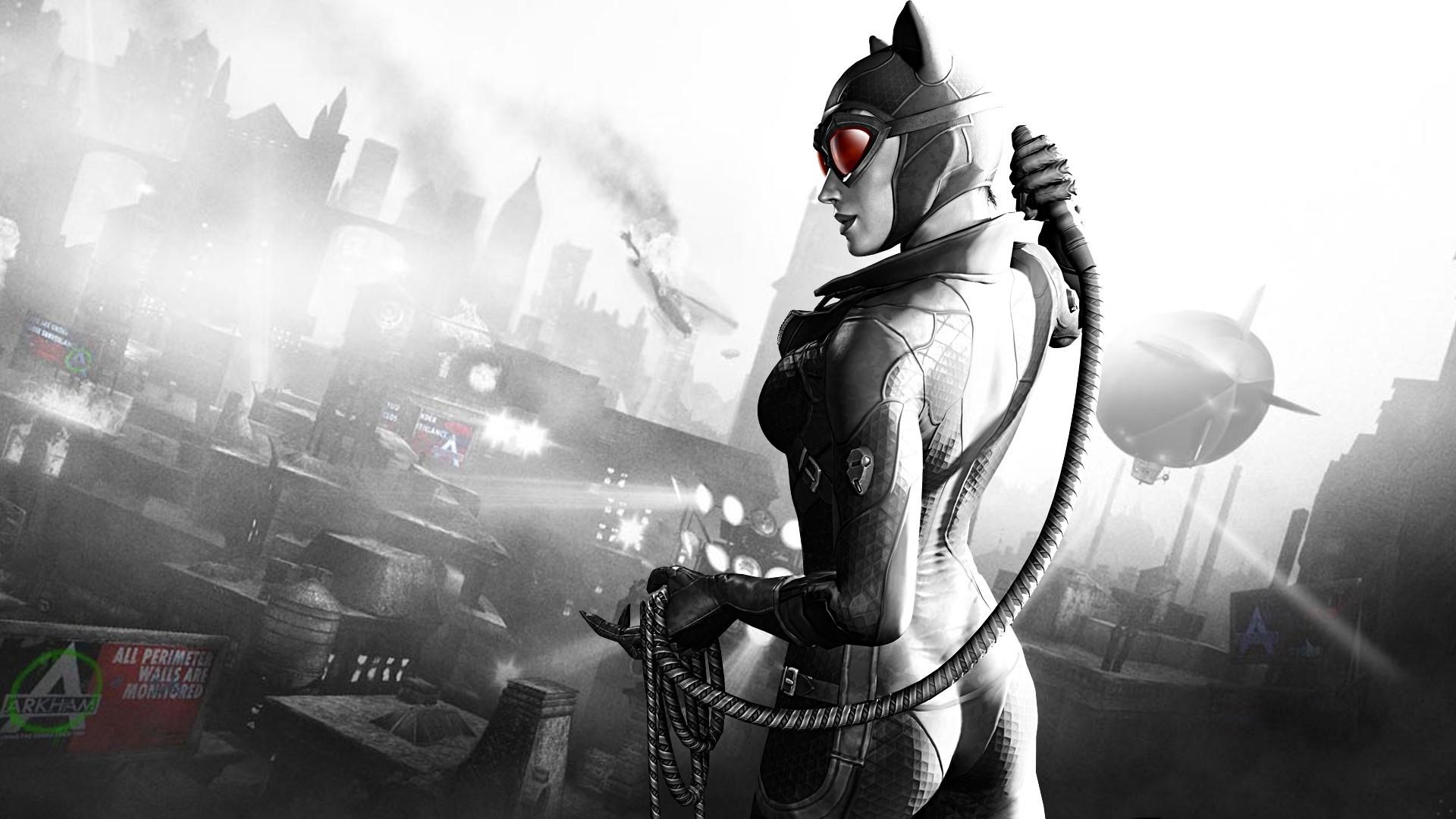 Preview wallpaper batman arkham city, catwoman, girl, city, airship, black  and