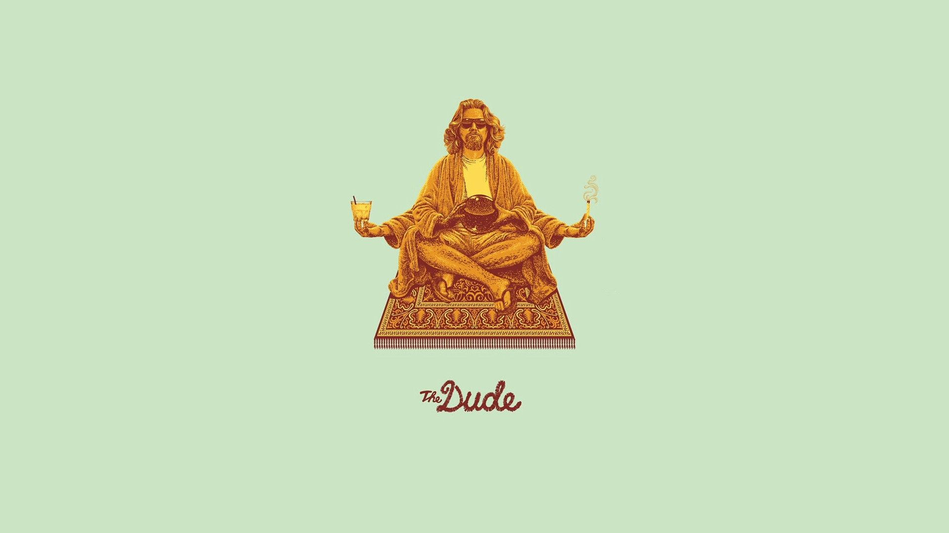 The Dude wallpaper, Big Lebowski The Dude meditating on carpet lotus .