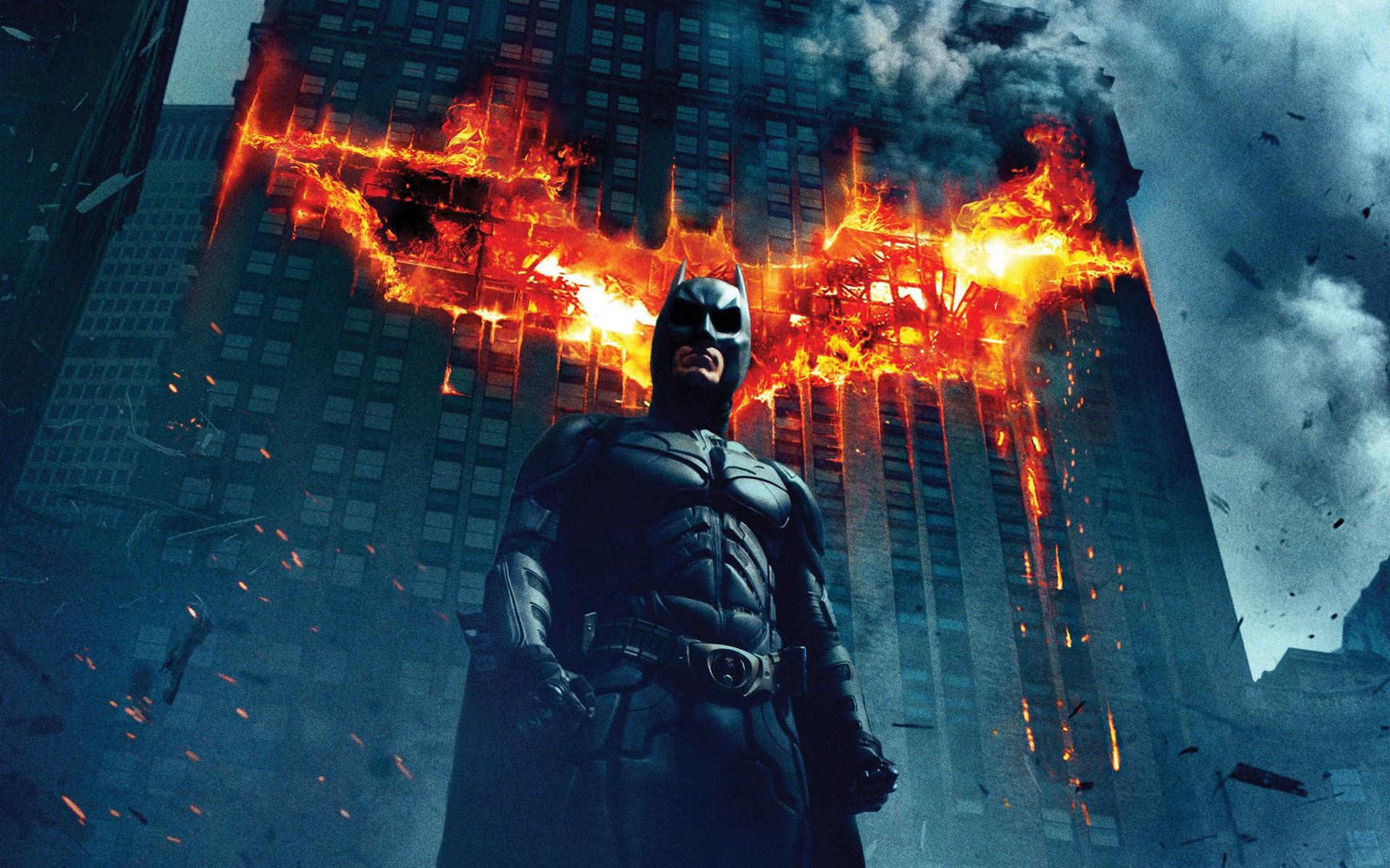 Fire Bat-Signal on a building – The Dark Knight wallpaper