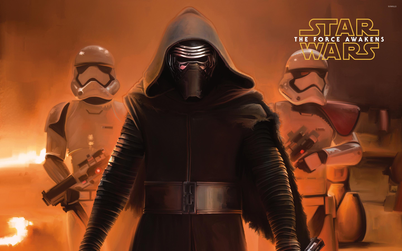 Kylo Ren and stormtroopers – Star Wars: The Force Awakens wallpaper