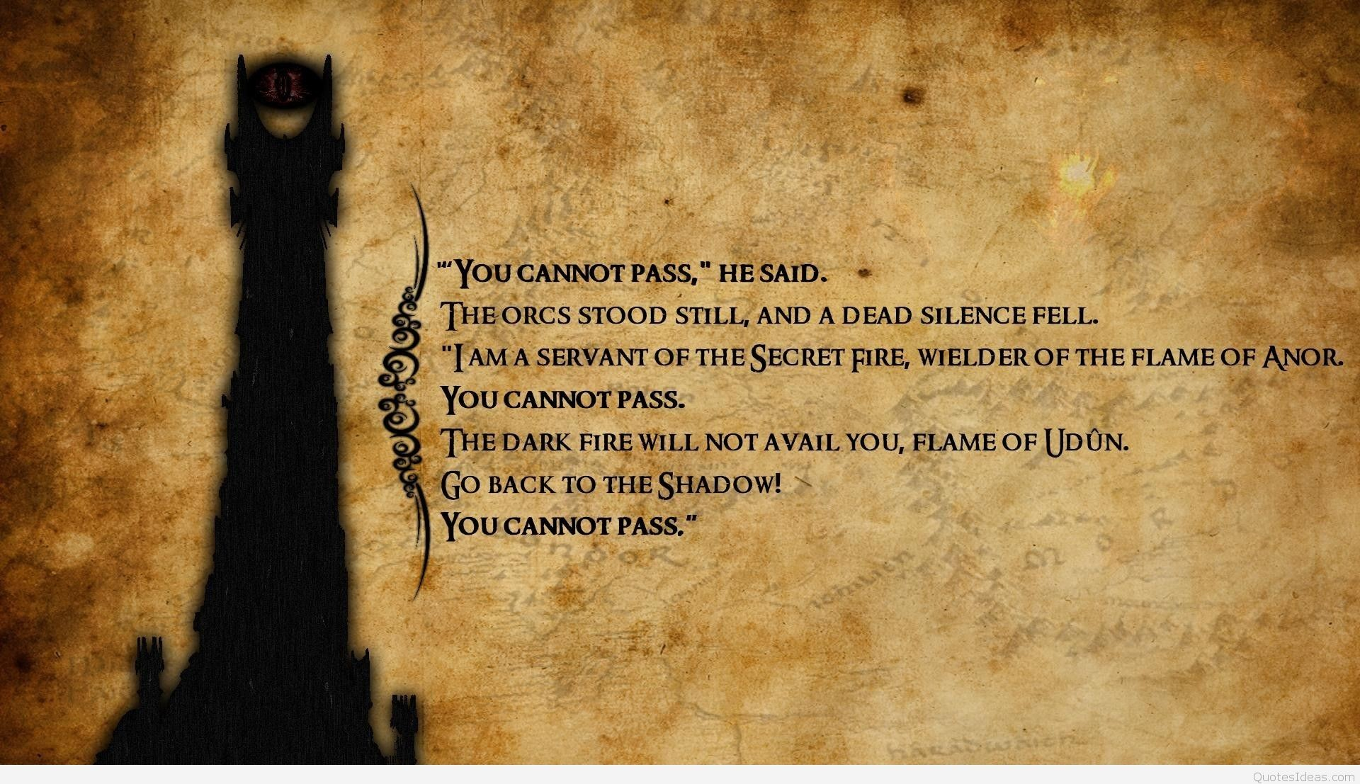 Lord Of The Rings Quotes Wallpapers Picture For Desktop Wallpaper 1920 x  1107 px 638.65 KB