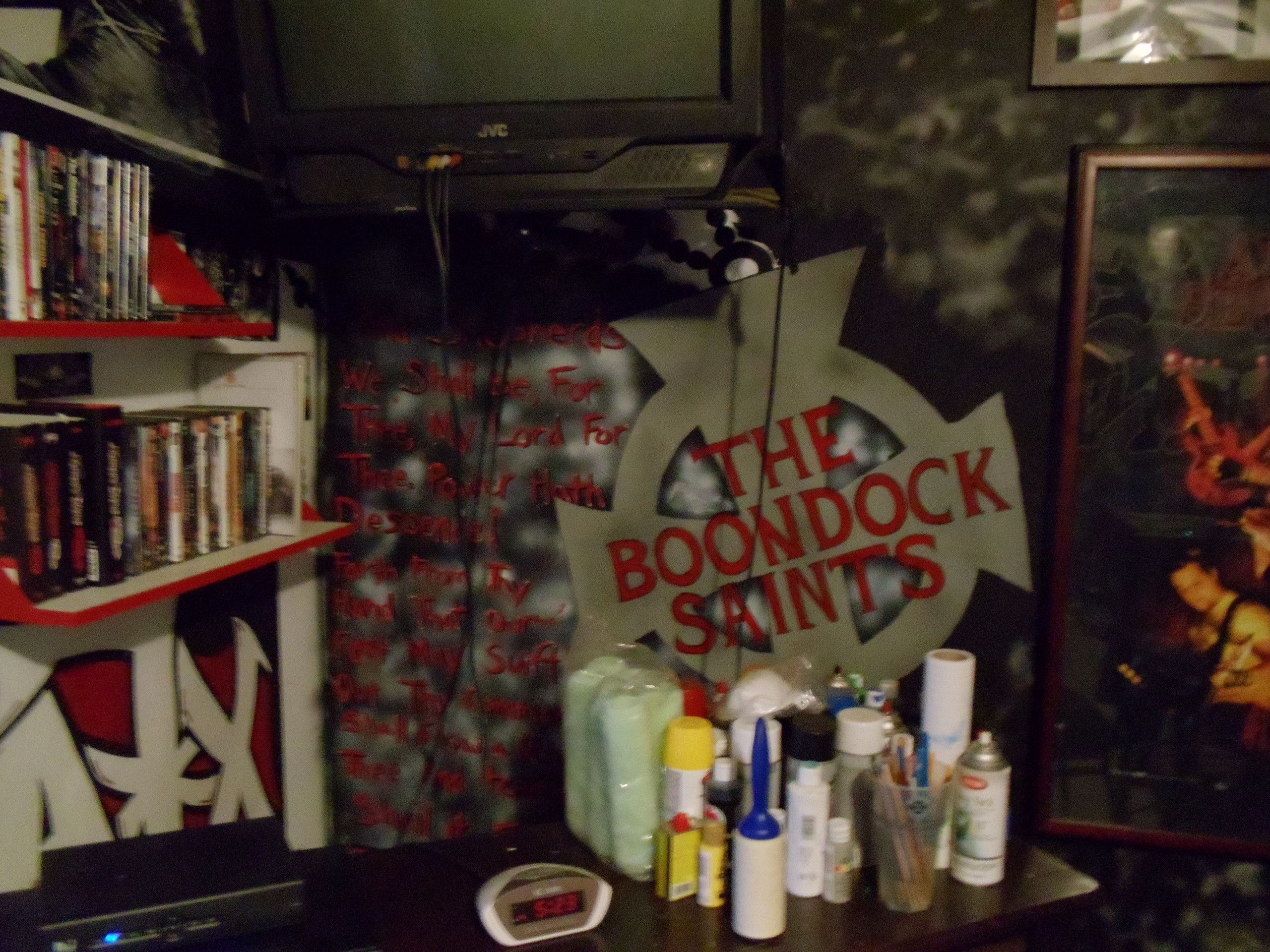 The Boondock Saints images Spray Painting I made of The Boondock Saints  Cross in My Room with prayer from the movie on the side HD wallpaper and  background …