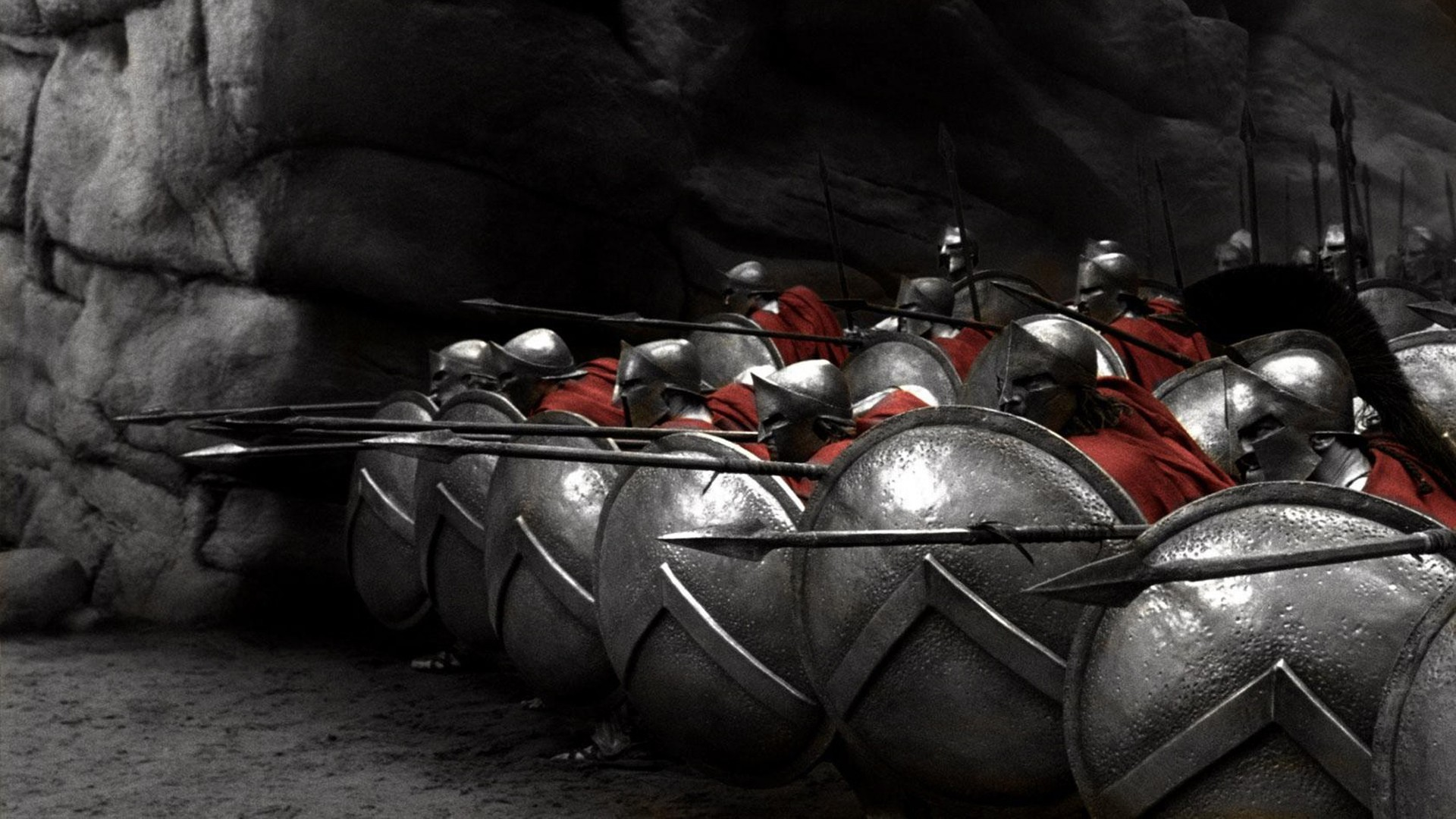 soldiers movies 300 (movie) Sparta spears selective coloring /  Wallpaper